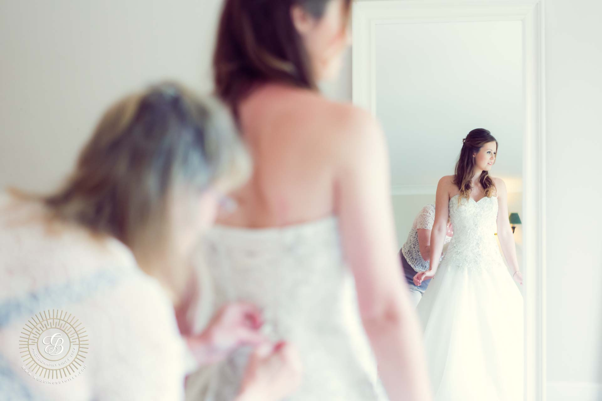 Bridal dress in the mirror