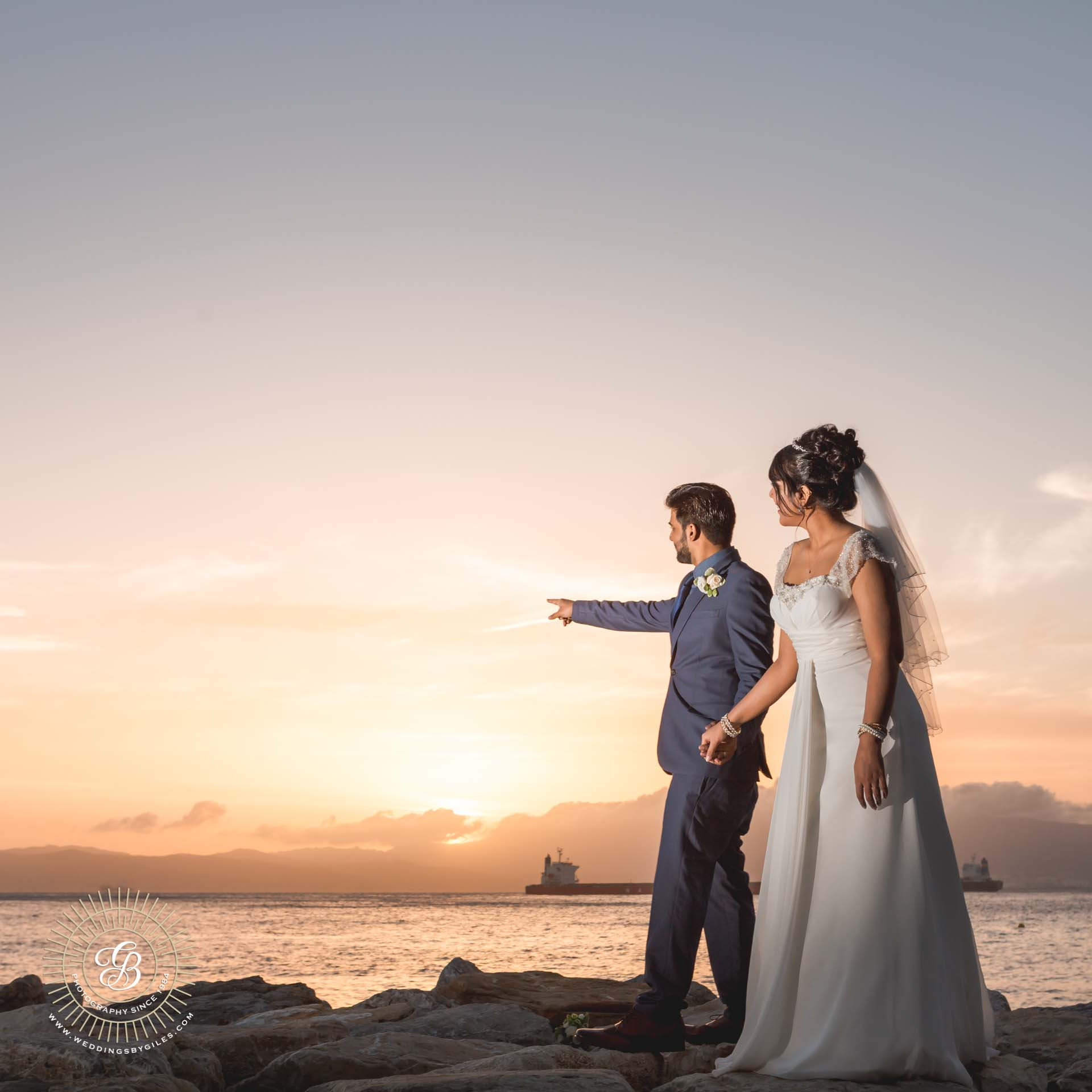 Sunset bride and groom photo shoot