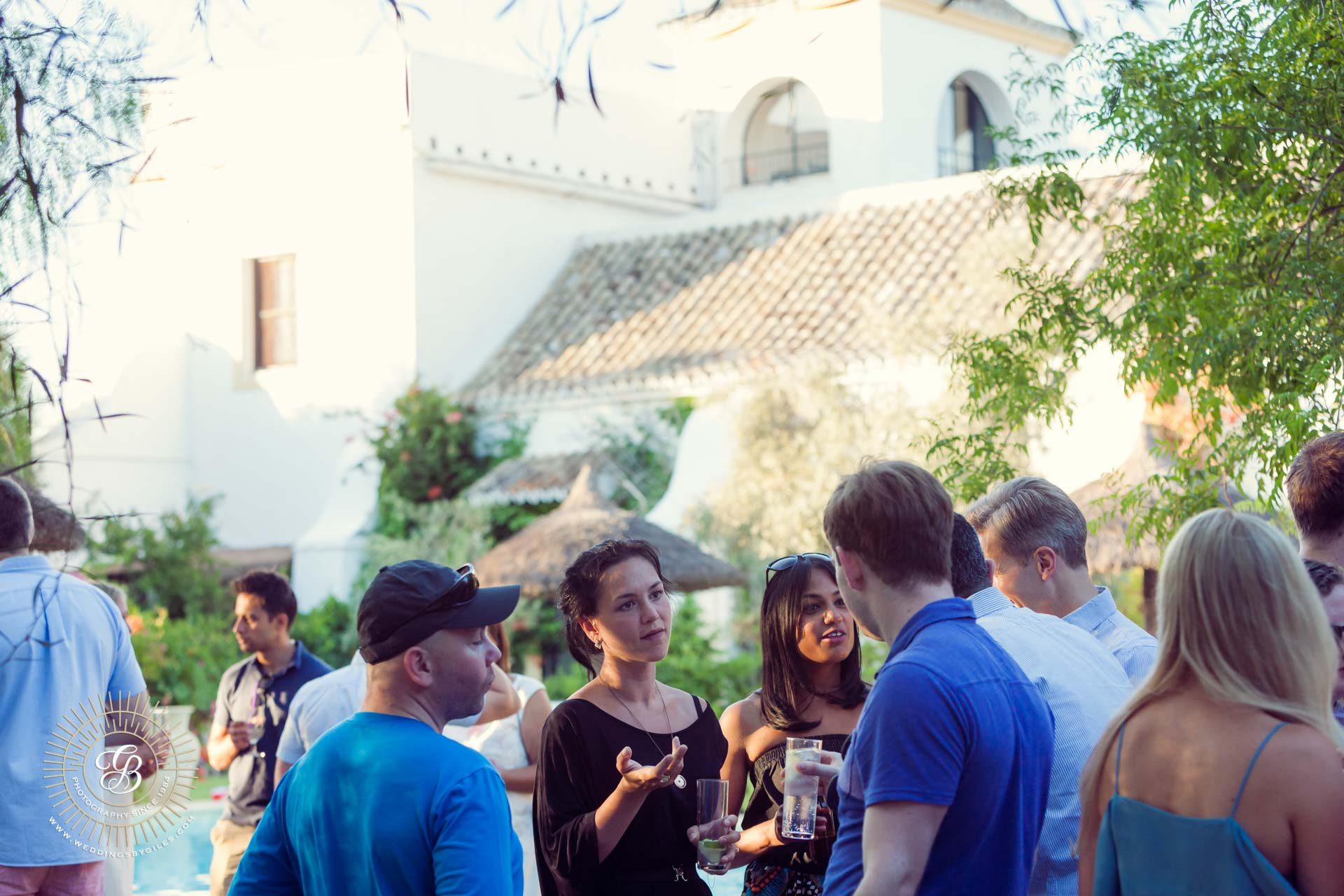 guests at welcome drinks party at the Hacienda de San Rafael, Se