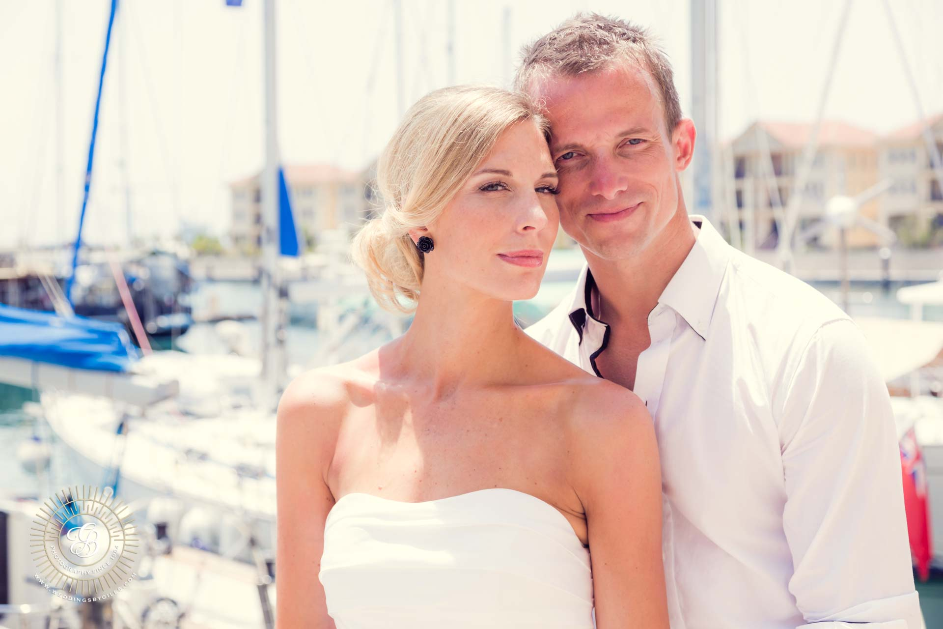 bride and groom at Queensway Quay Marina