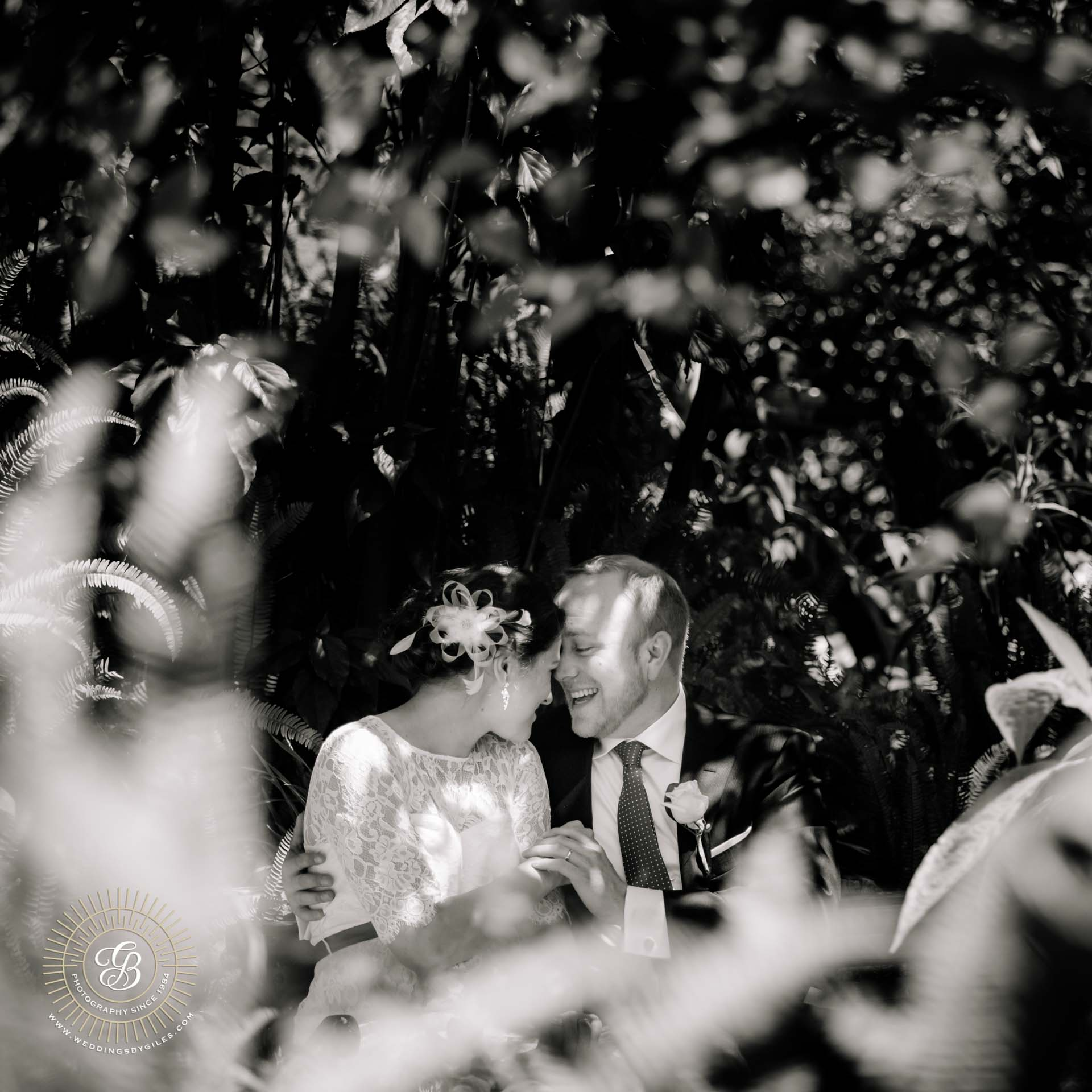 black & white wedding portrait