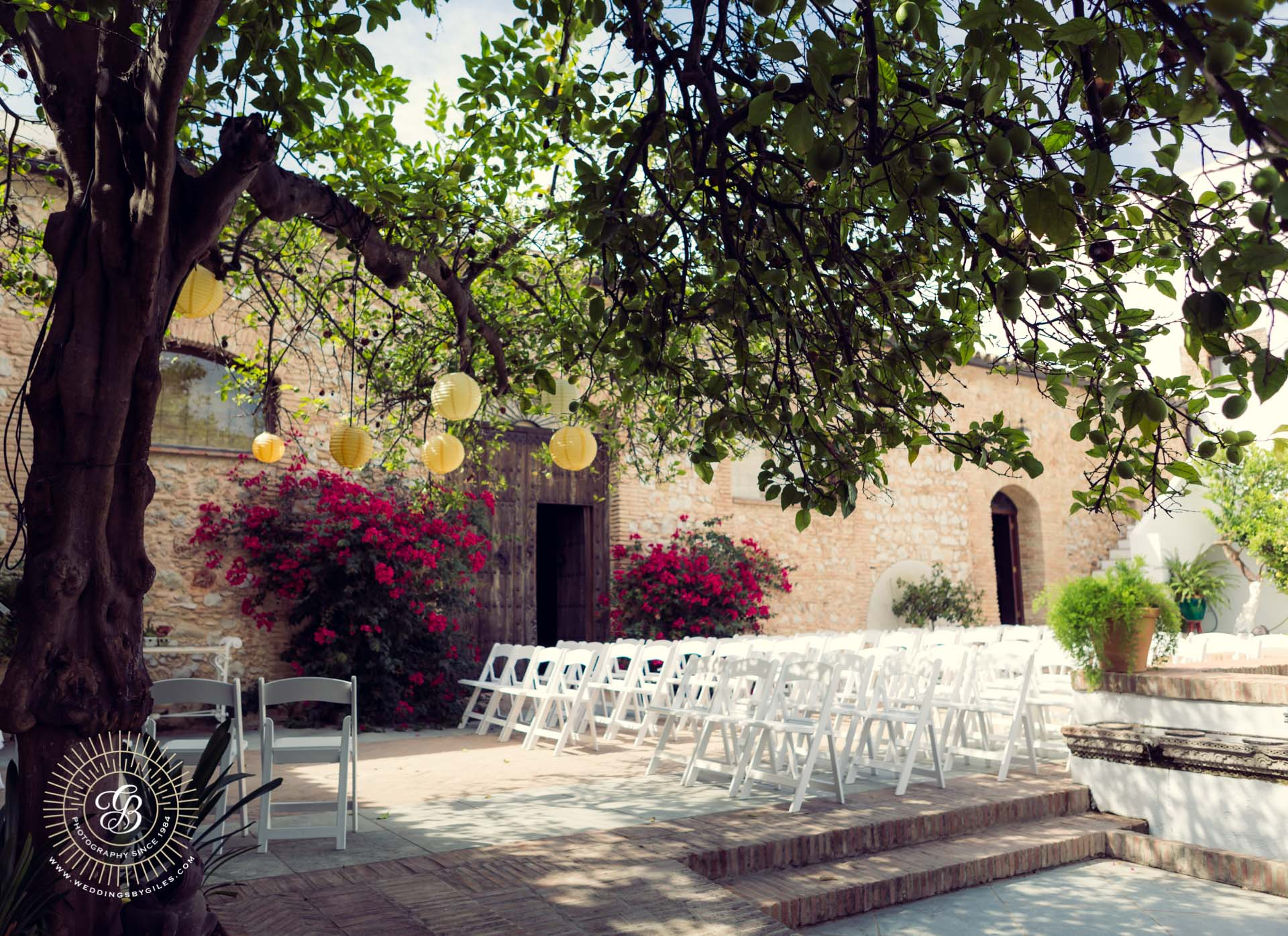 wedding setup in Spanish Cortico courtyard