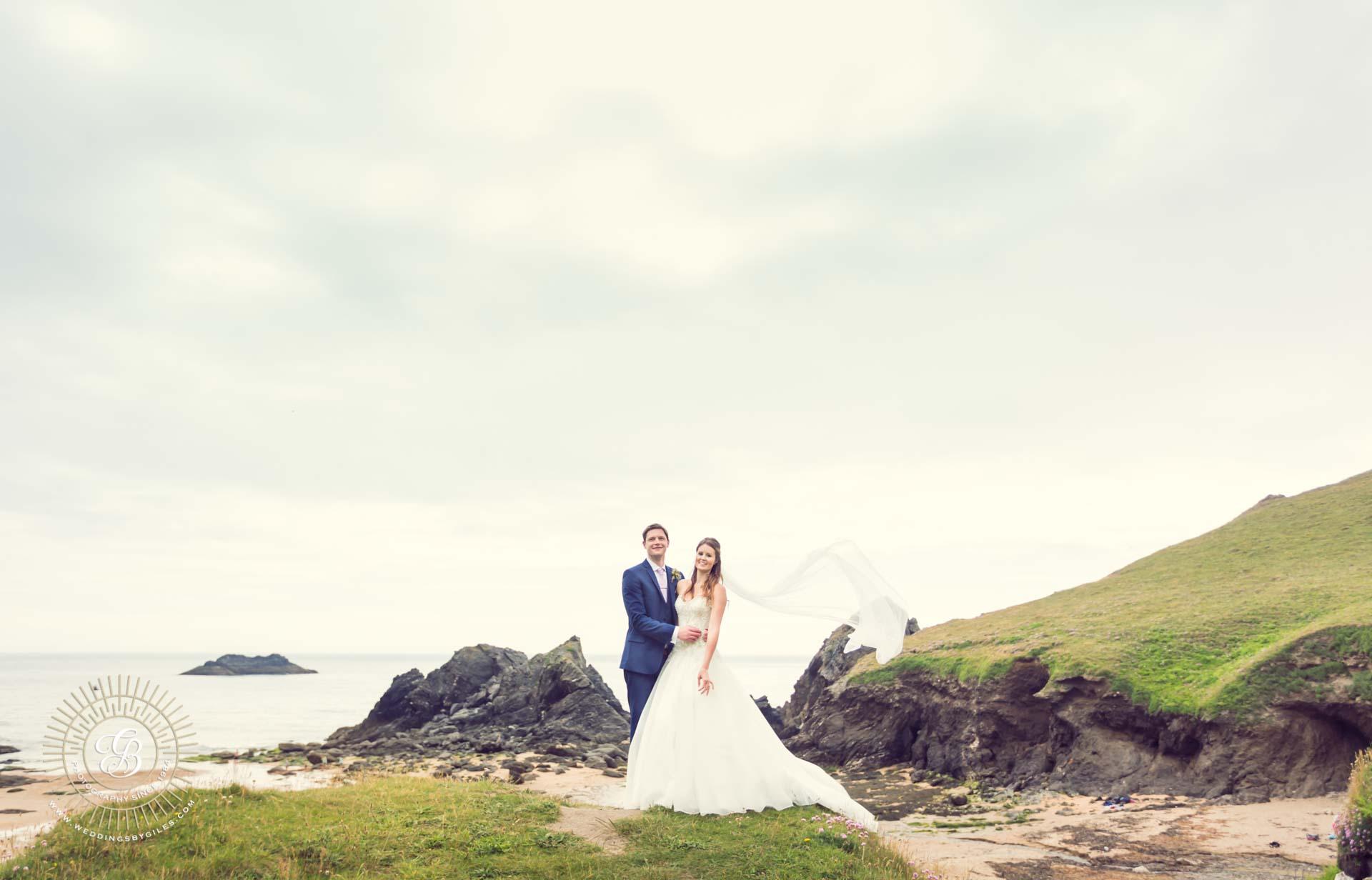 Soar Mill Cove wedding beach portrait