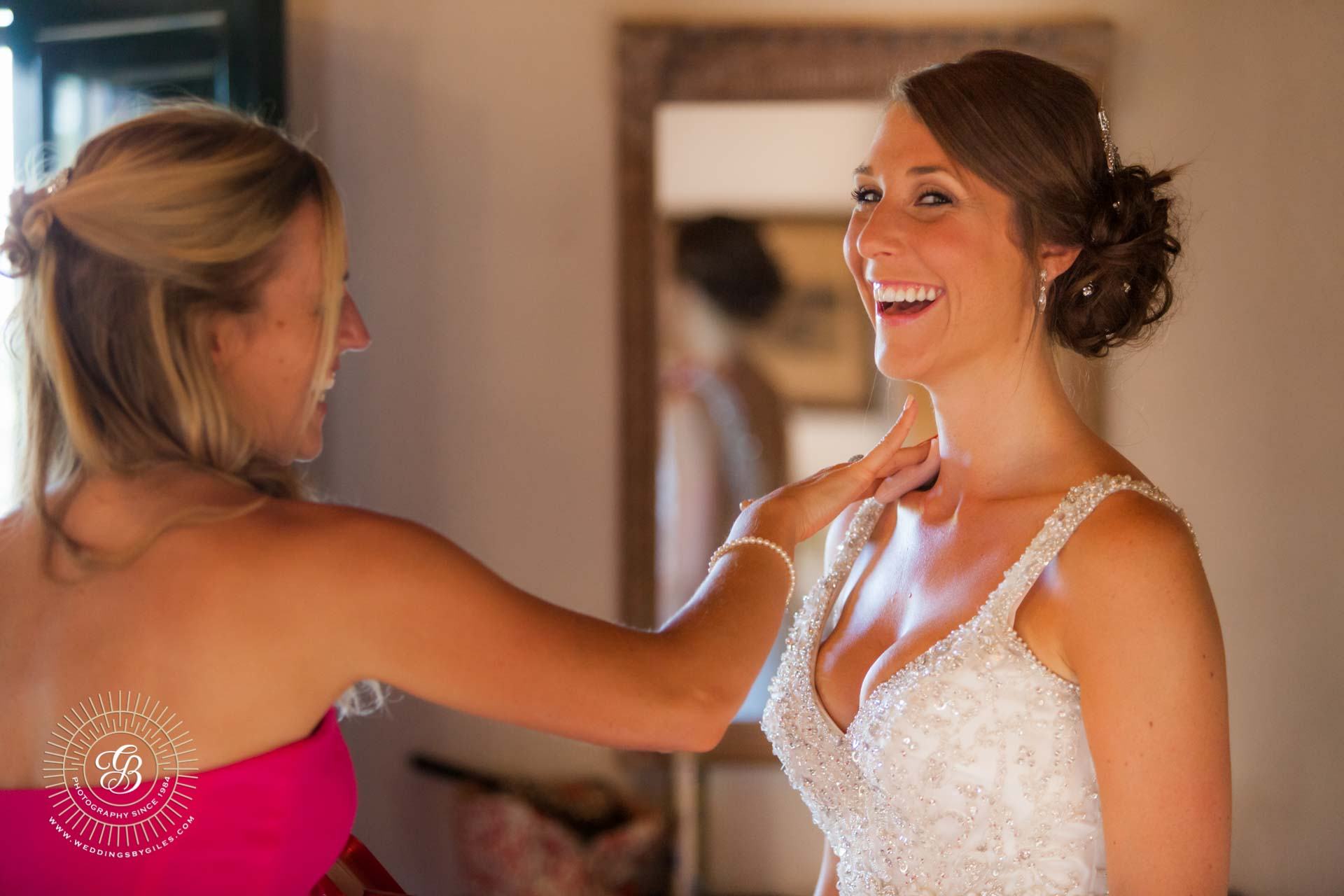 Finishing touches to the bride