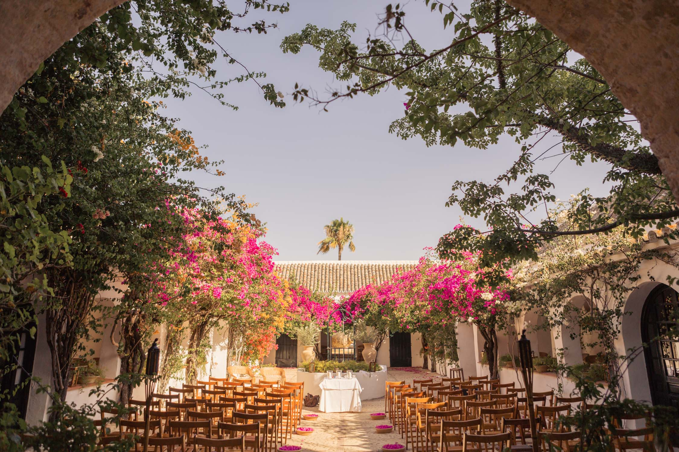 Courtyard wedding set up in Spanish Hacienda