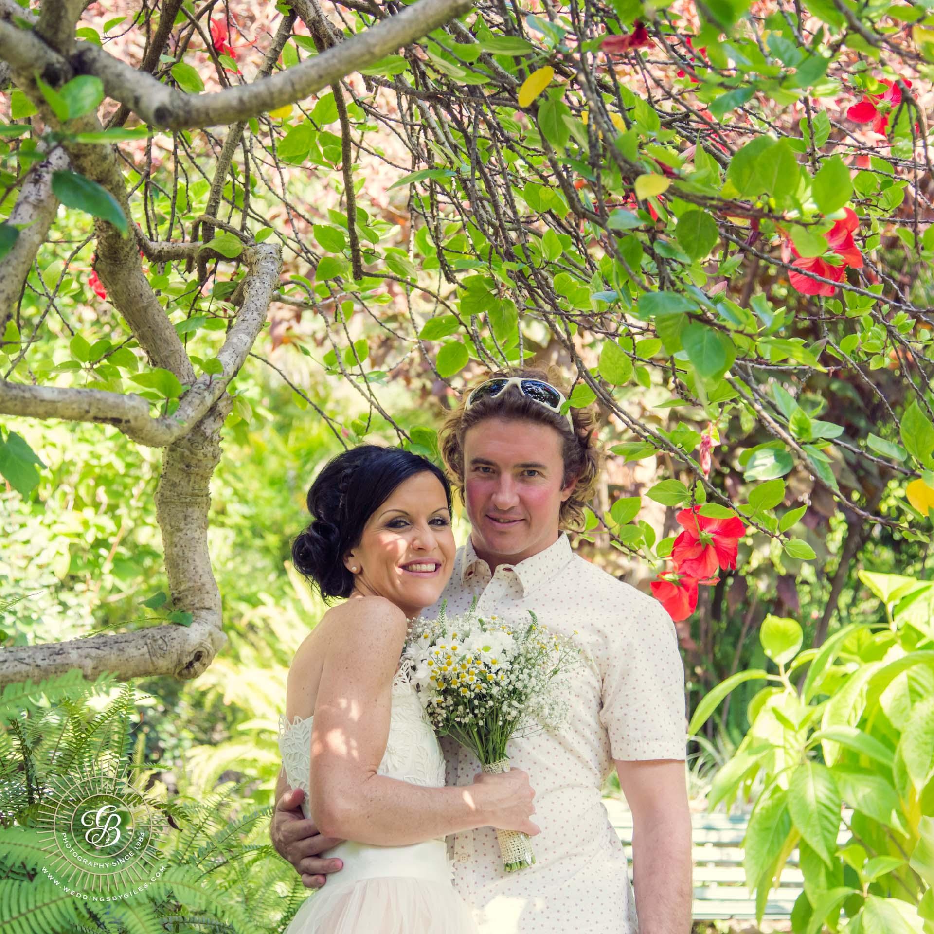 Wedding portrait in tropical garden