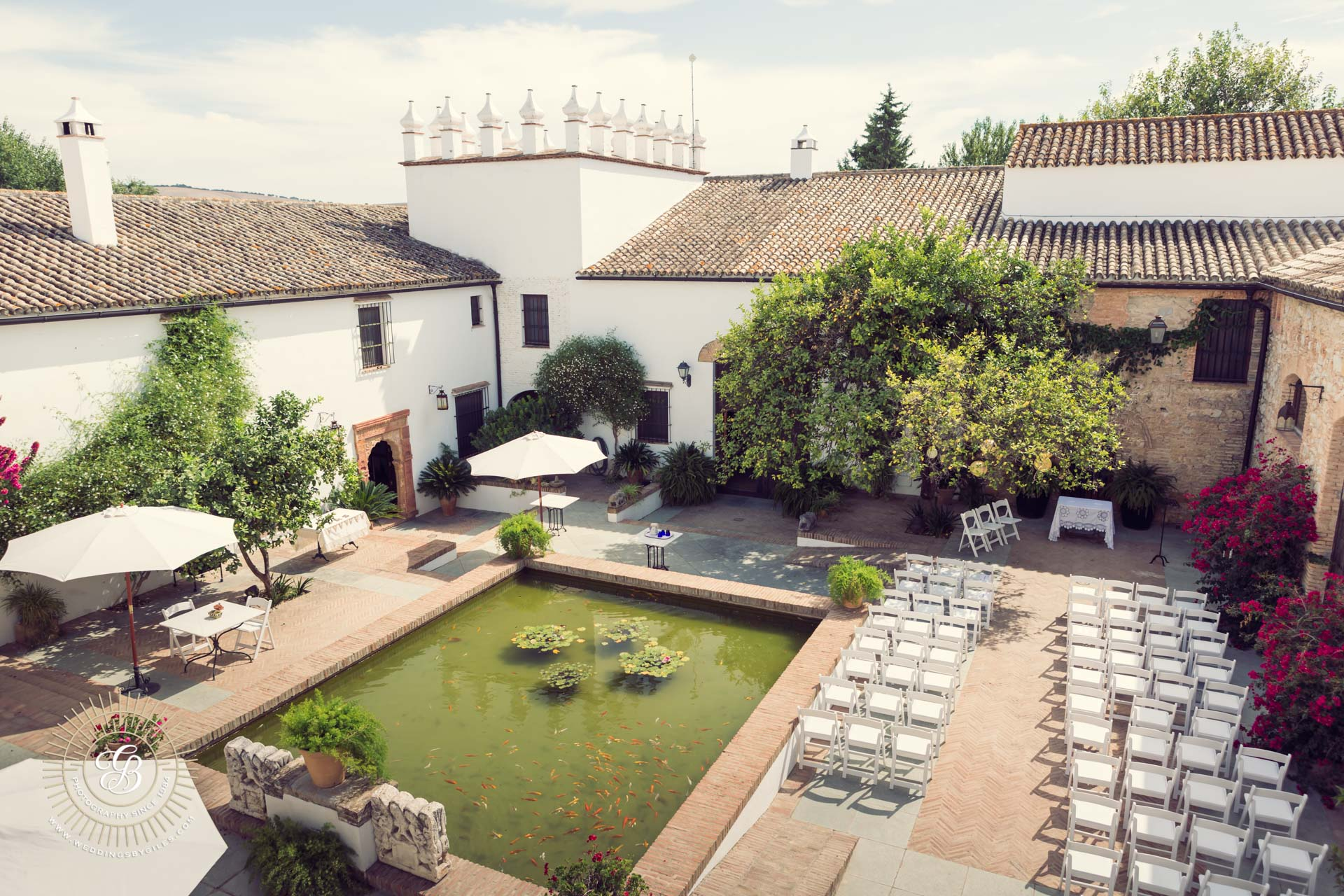 wedding setup in Andalucian courtyard