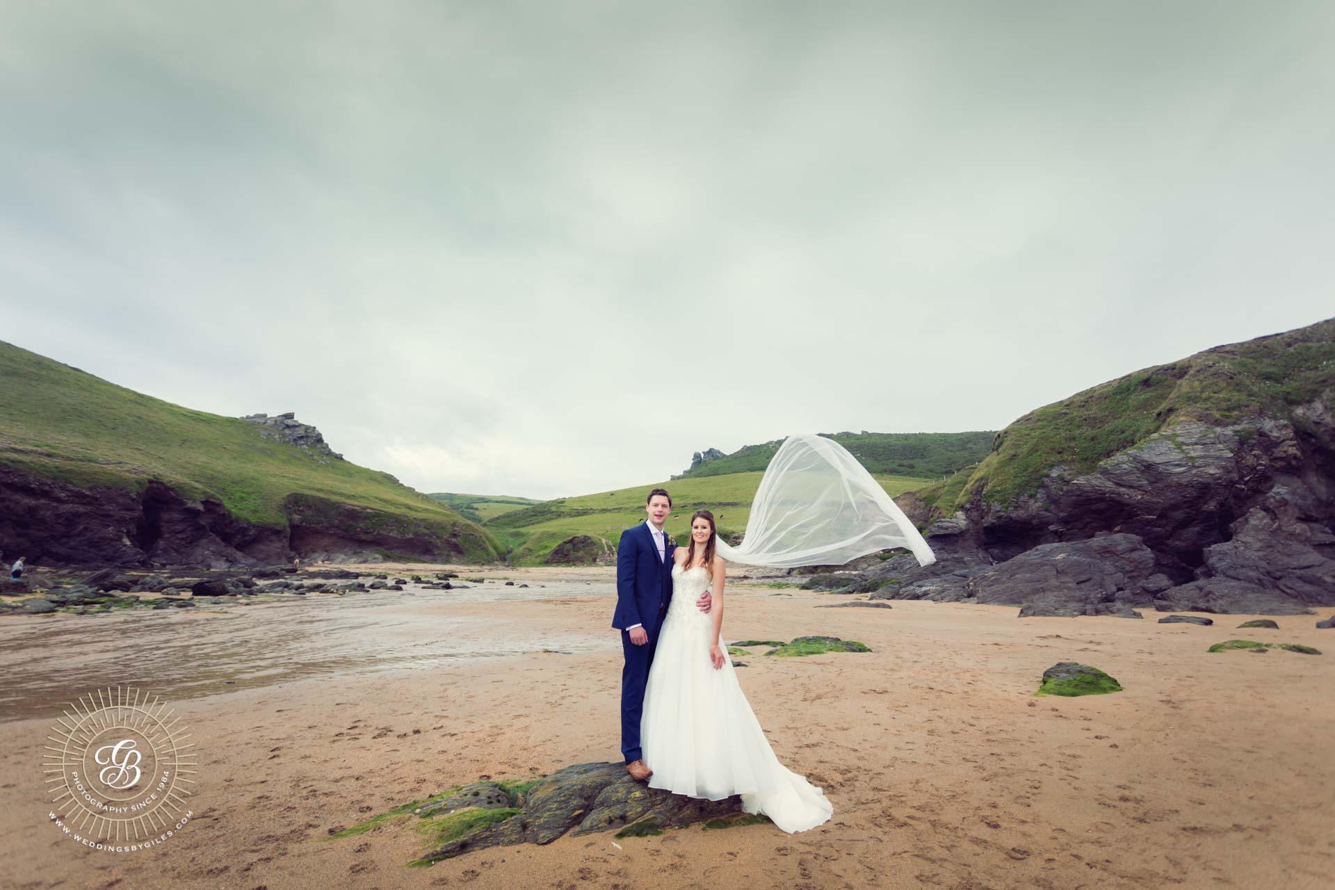 Devon Beach wedding portrait