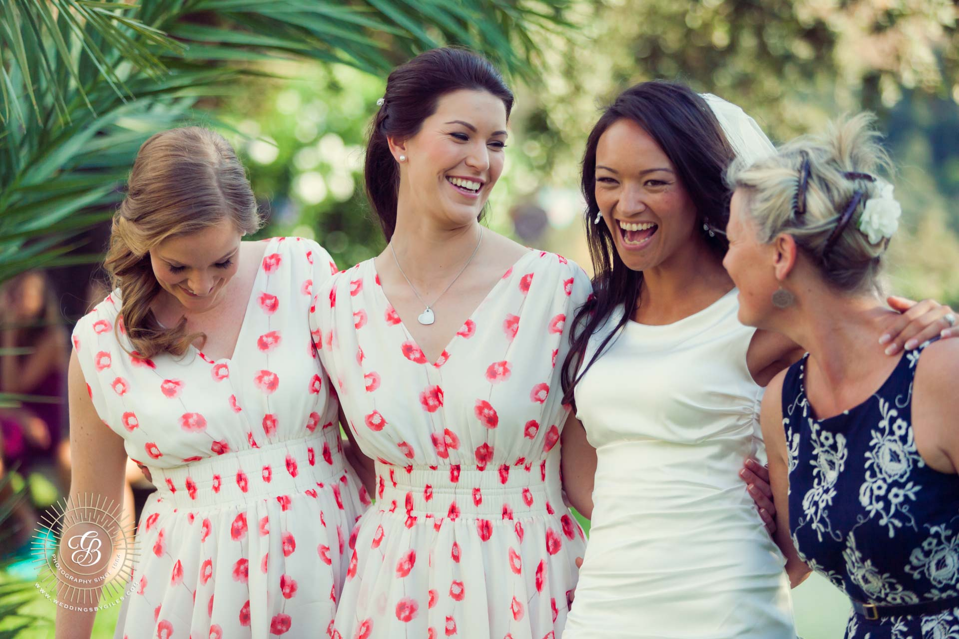 laughter at a sunny spannish wedding