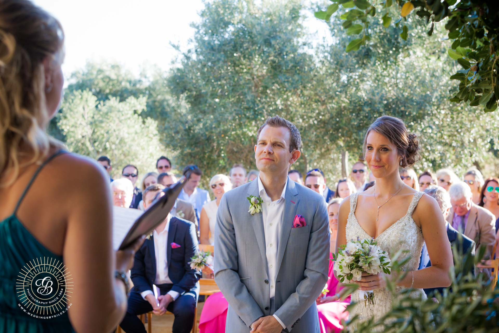 Garden wedding ceremony at the Hacienda de San Rafael