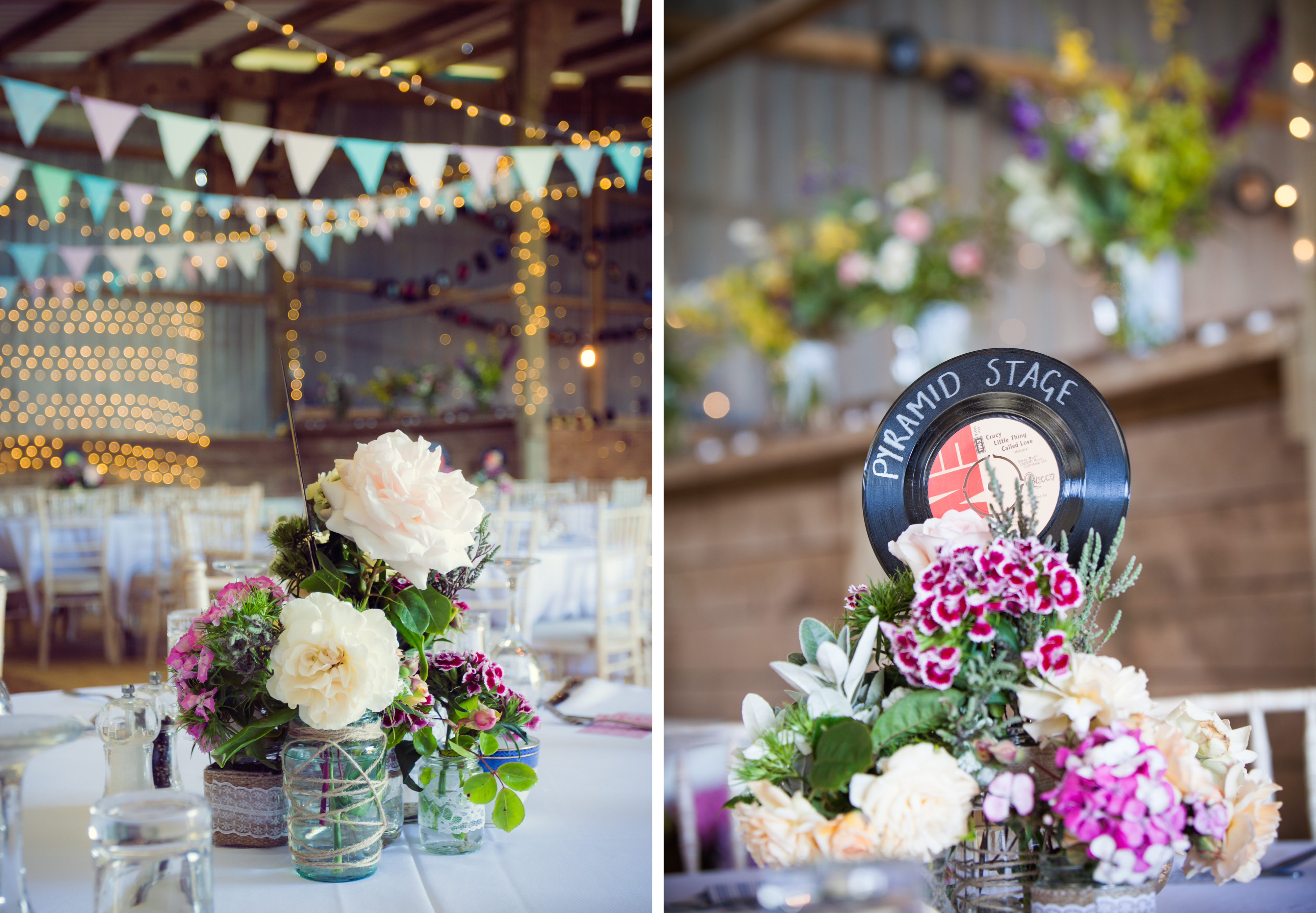 47_home made rustic wedding decoration in a barn