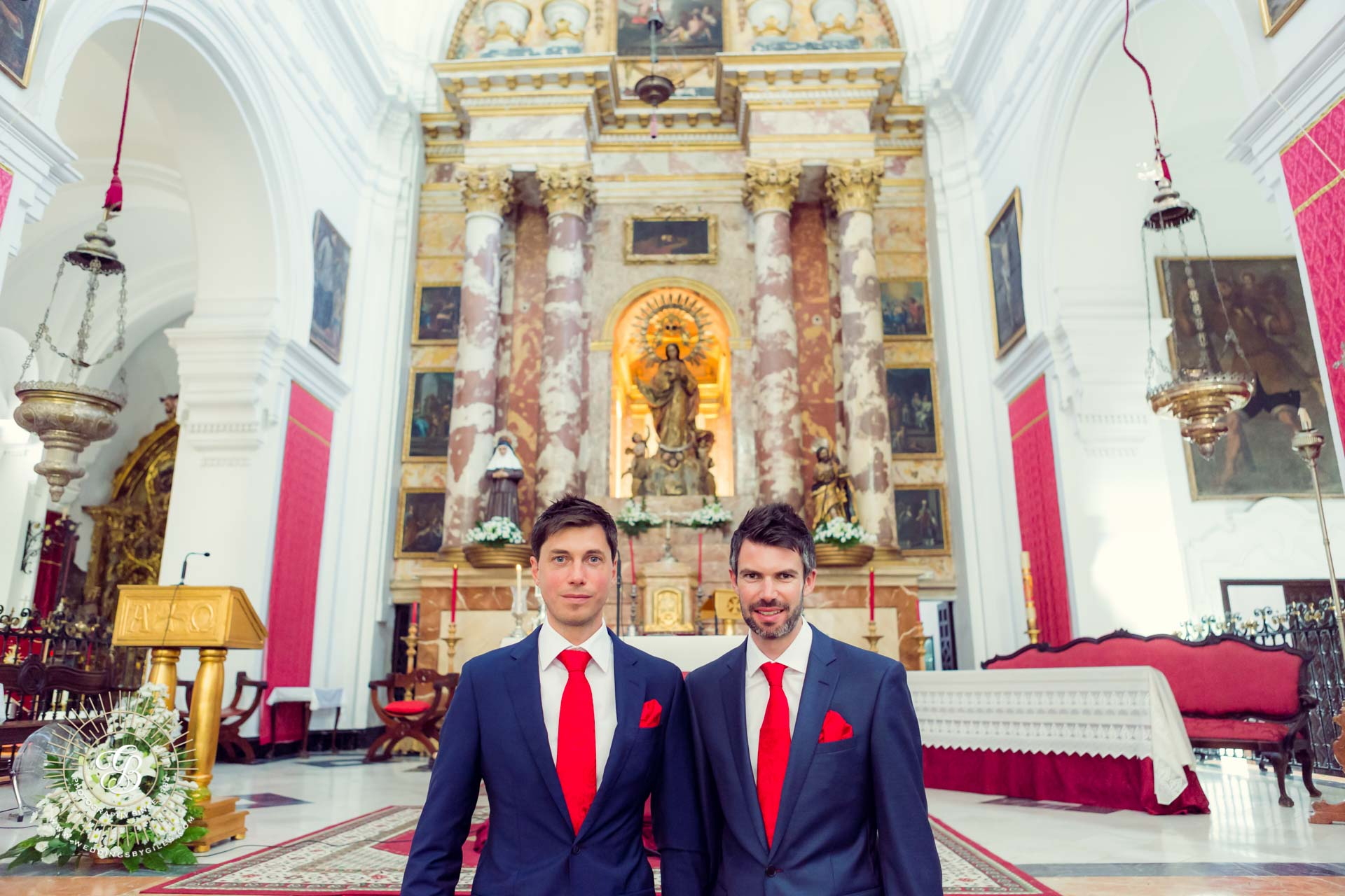 Groom and best man in chruch