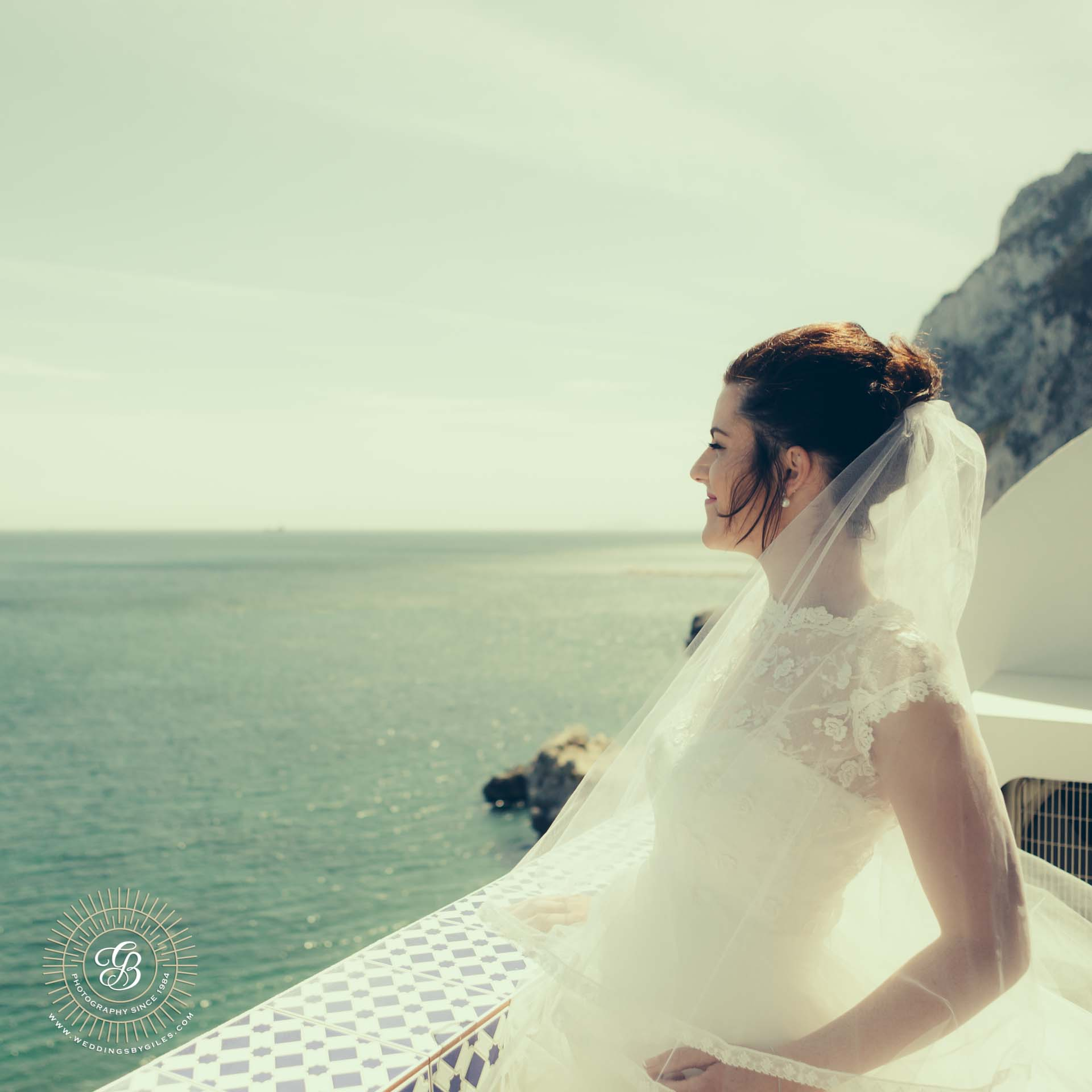 Bridal Portrait on The Calleta Hotel terrace in Gibraltar