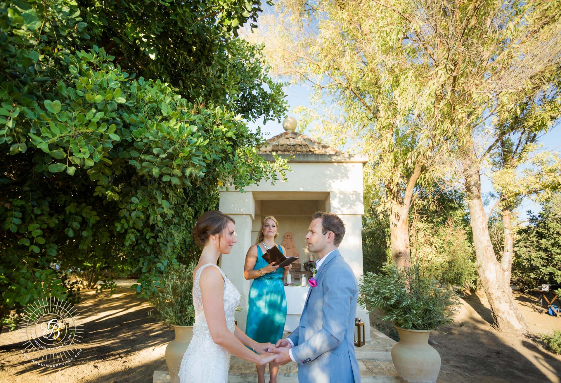 wedding ceremony at the Hacienda de San Rafael