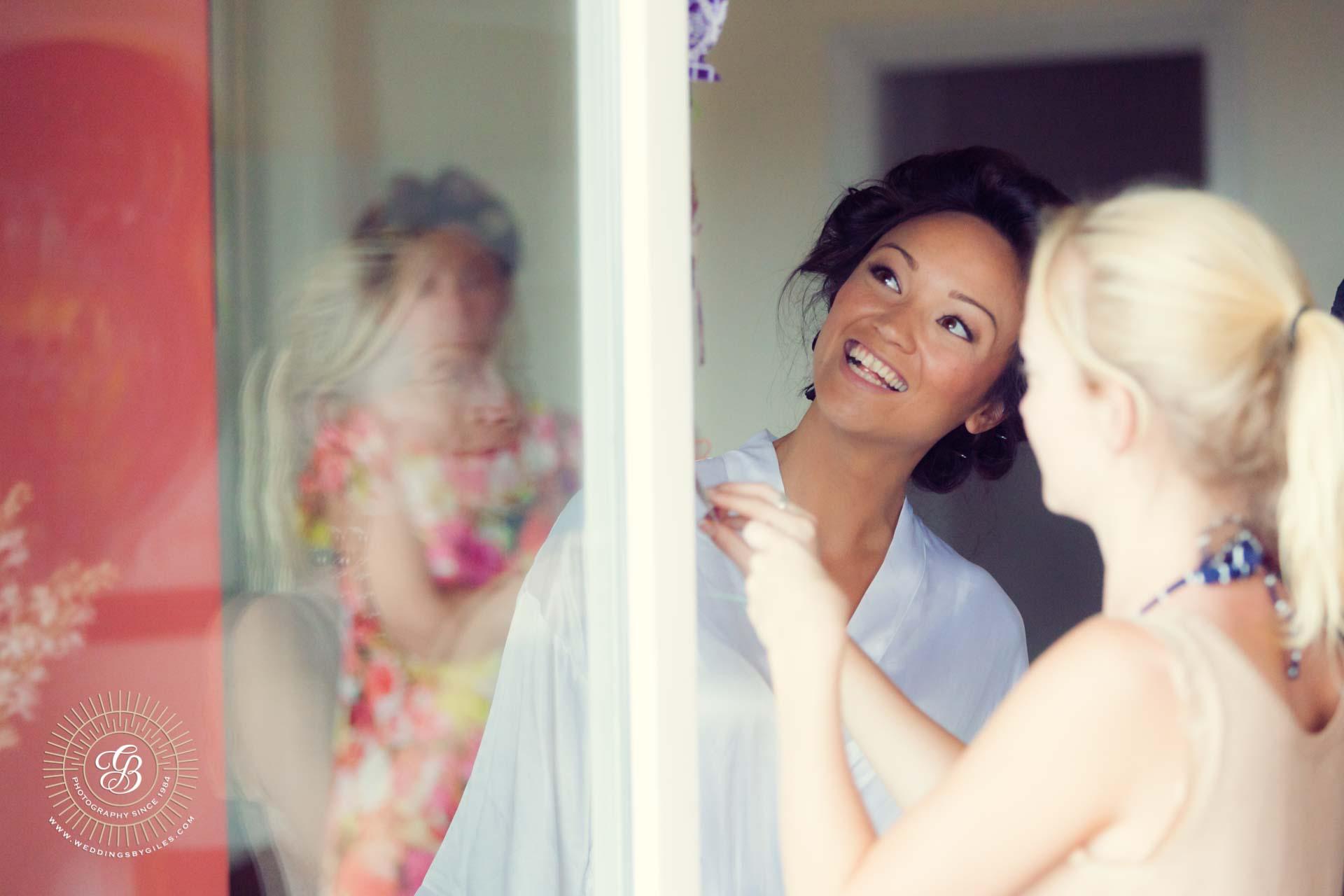 Bride looks at wedding decorations