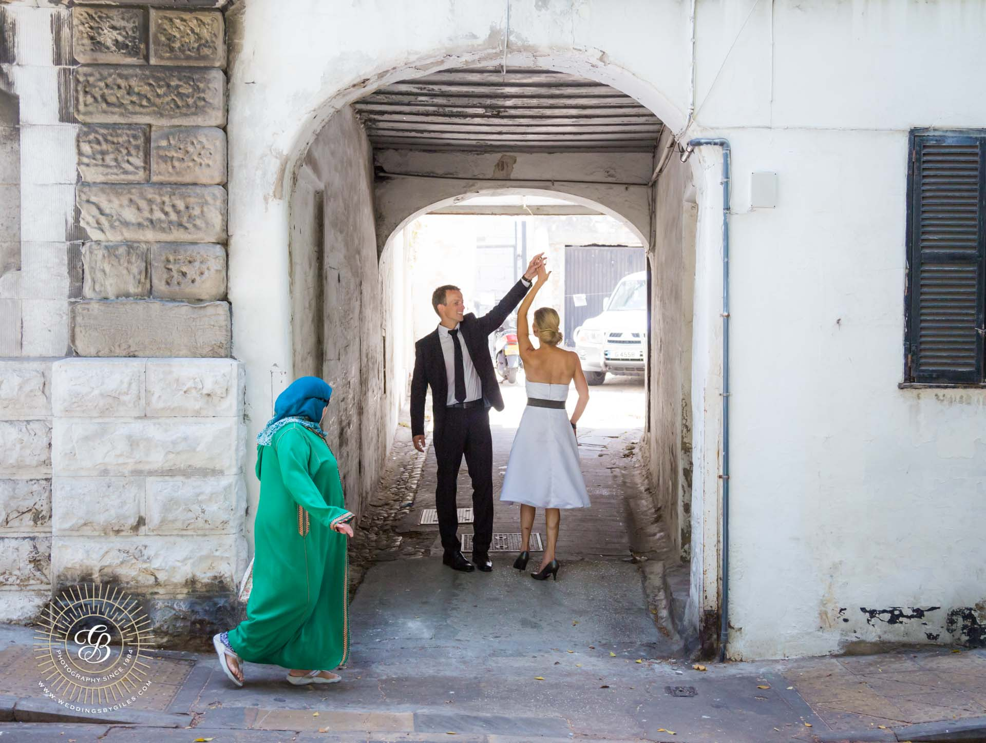 bride and groom in the Moroccan quarter