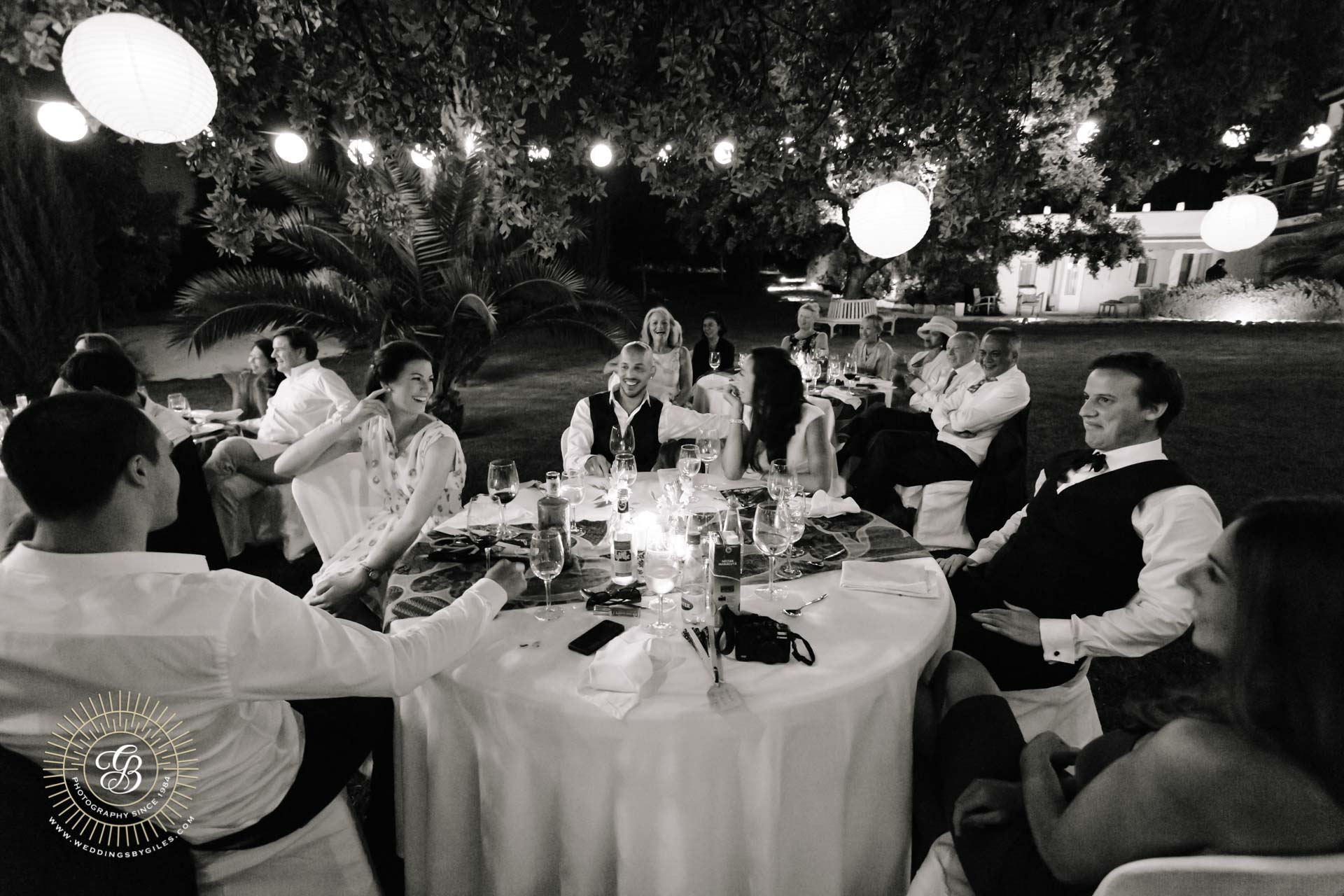 night time garden wedding
