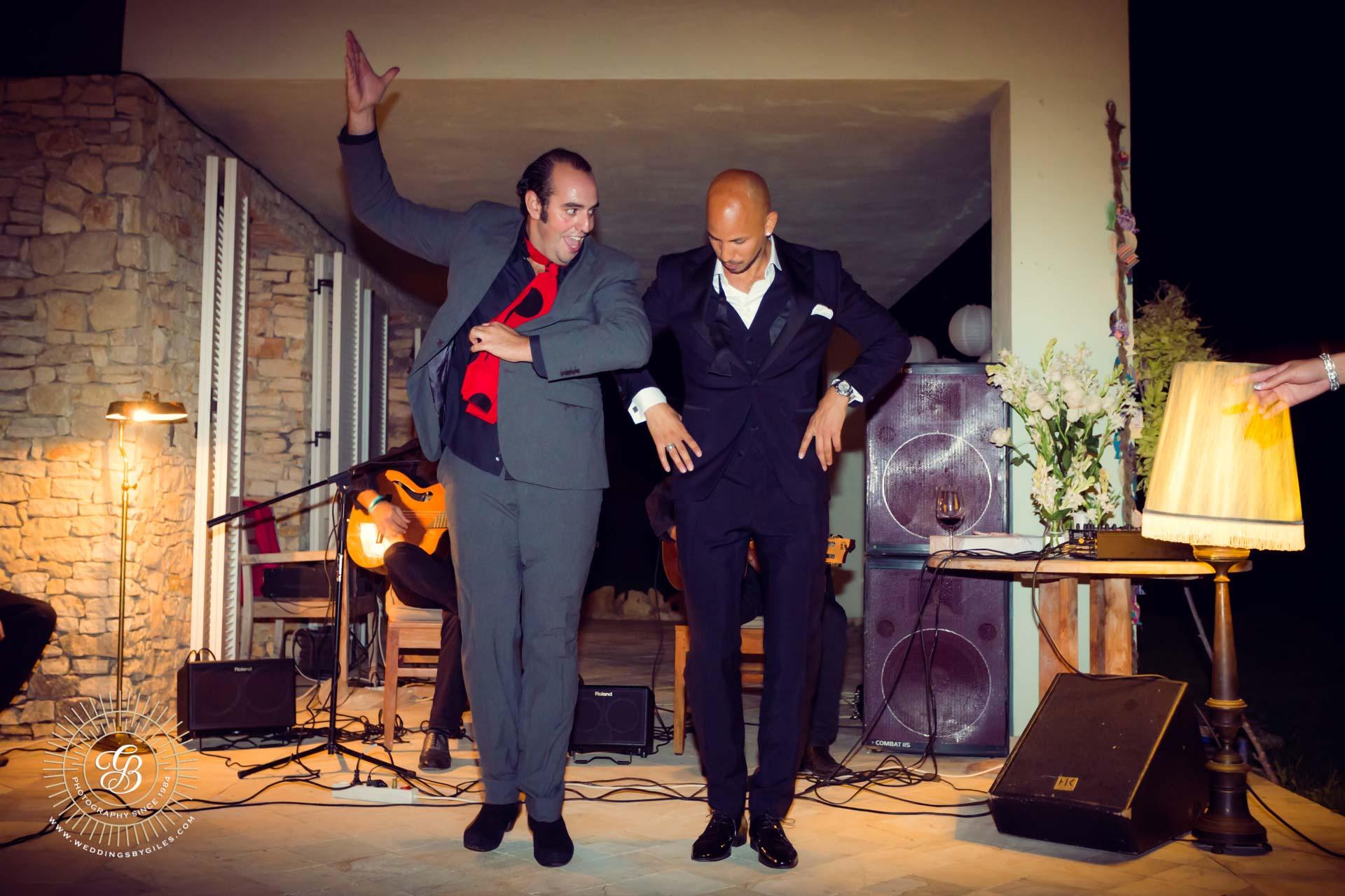 groom tries flamenco