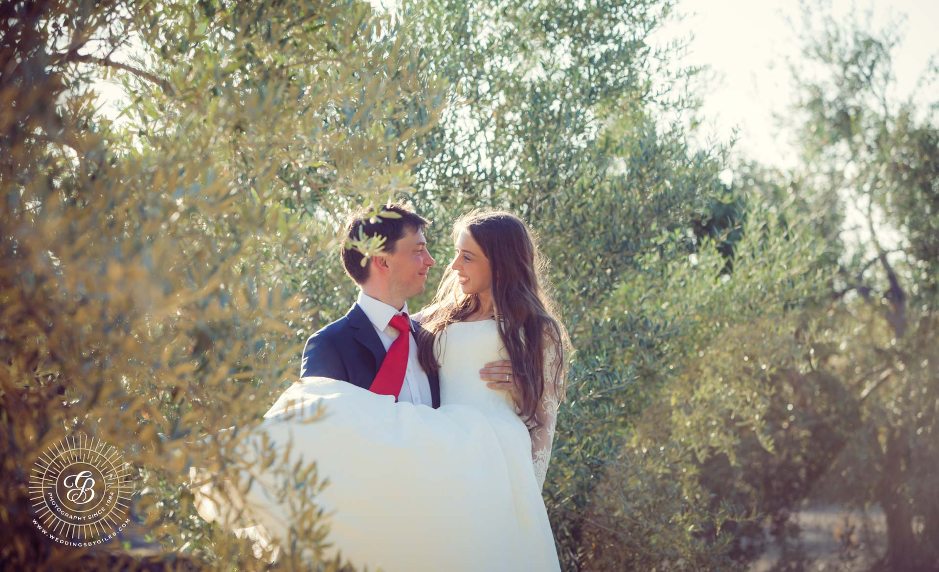groom carries bride through olive grove in spain