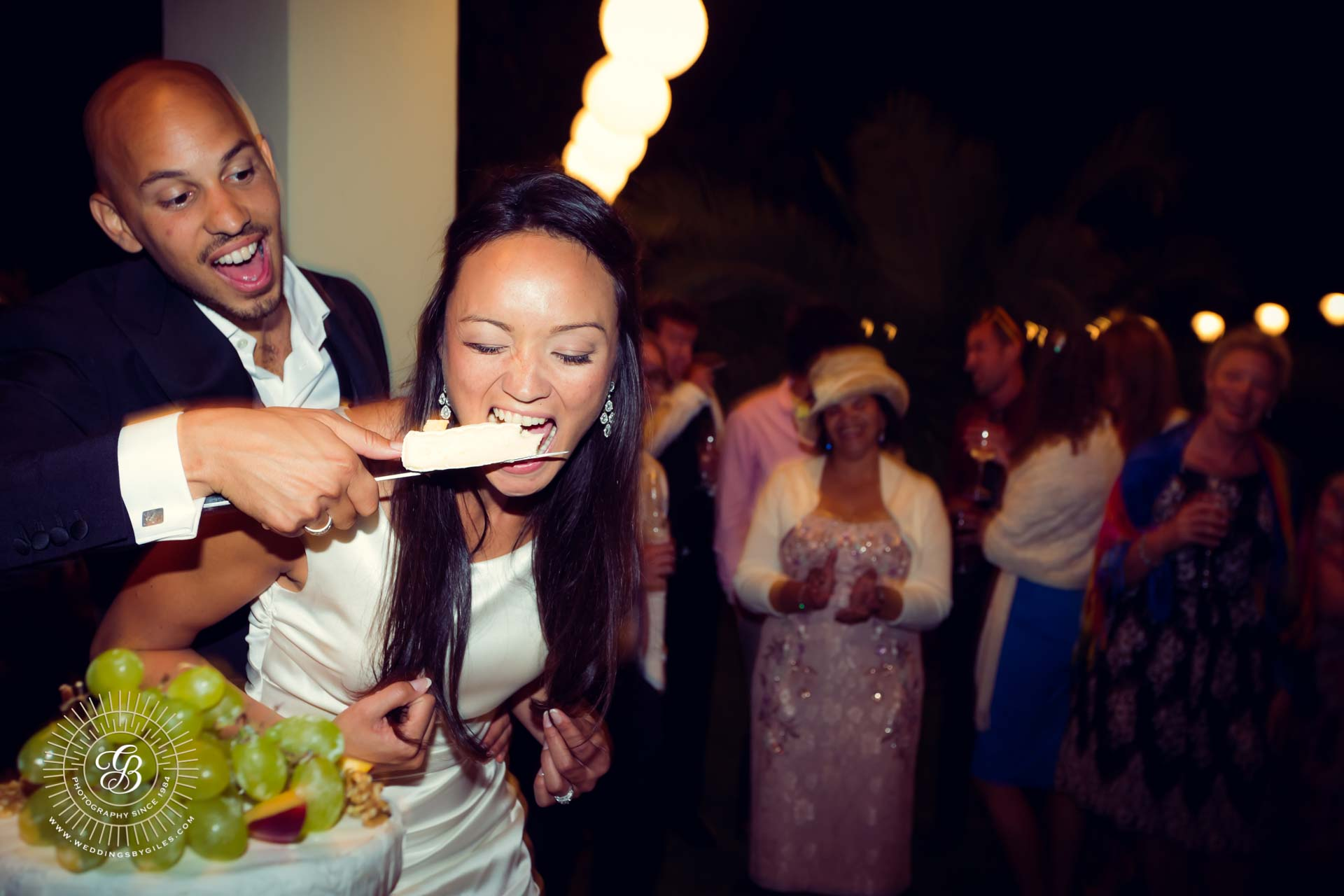 Bride eats cheese cake