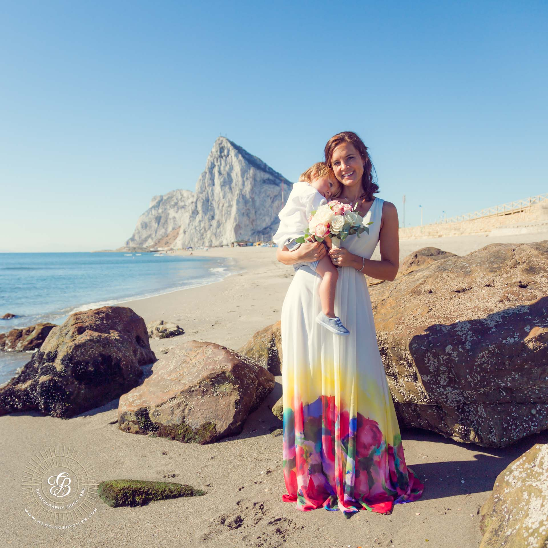 Rock of Gibraltar beach wedding shoot