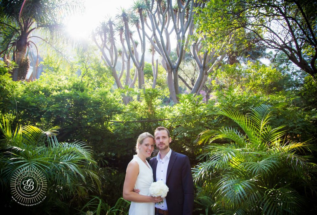 Elopment wedding portrait in the Dell, Gibraltar