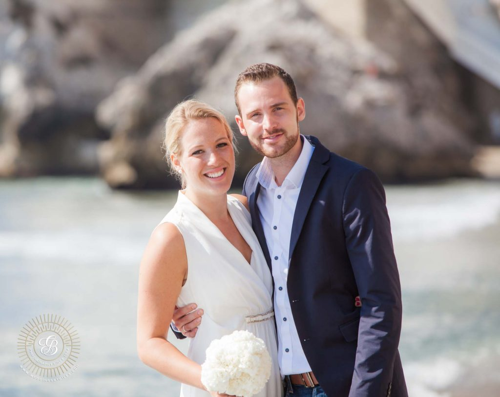 wedding portrait in catalan bay