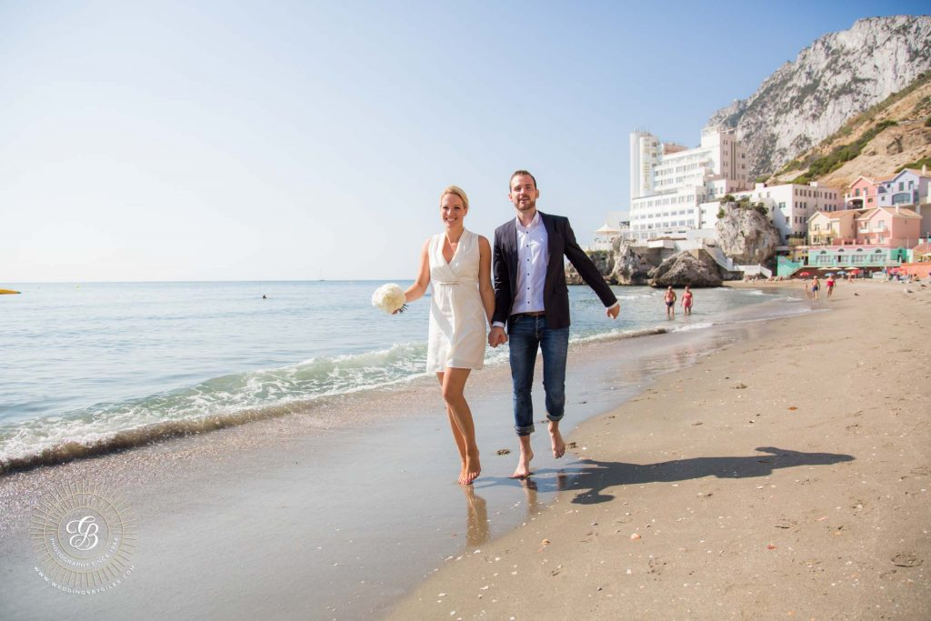 beach wedding photo shoot in Gibraltar