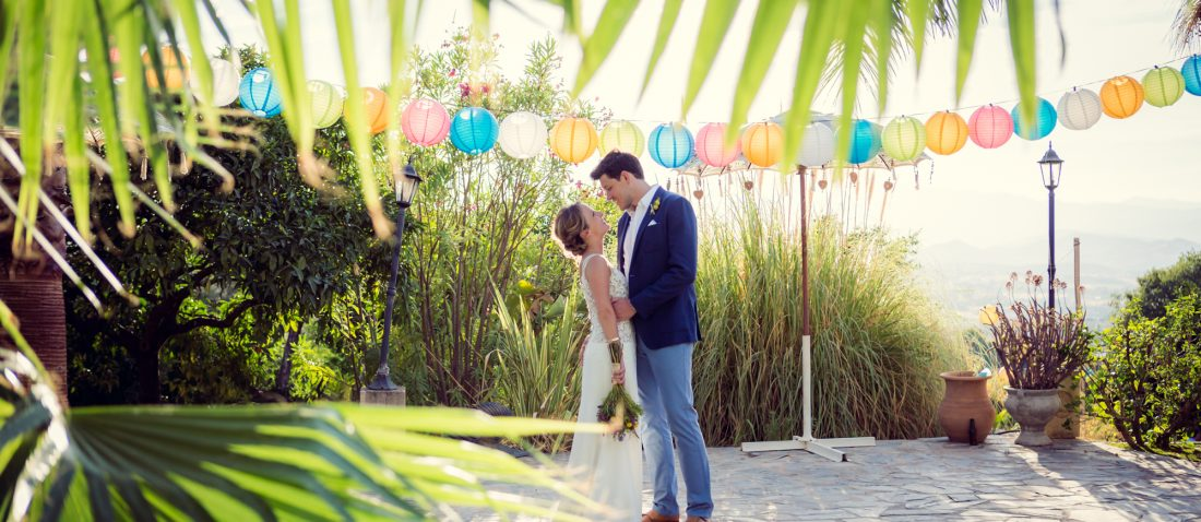 garden wedding embrace
