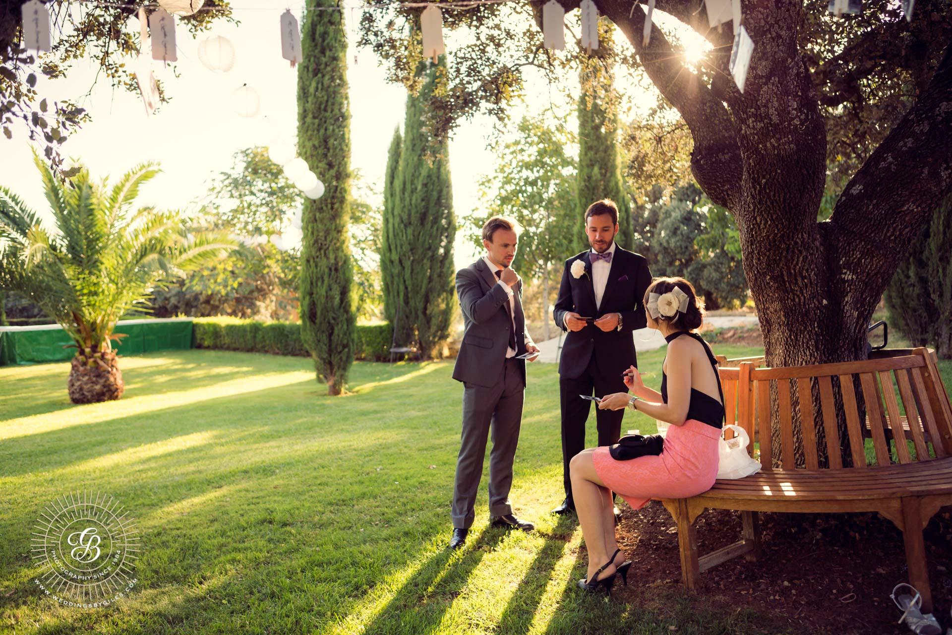 evening light garden wedding in spain