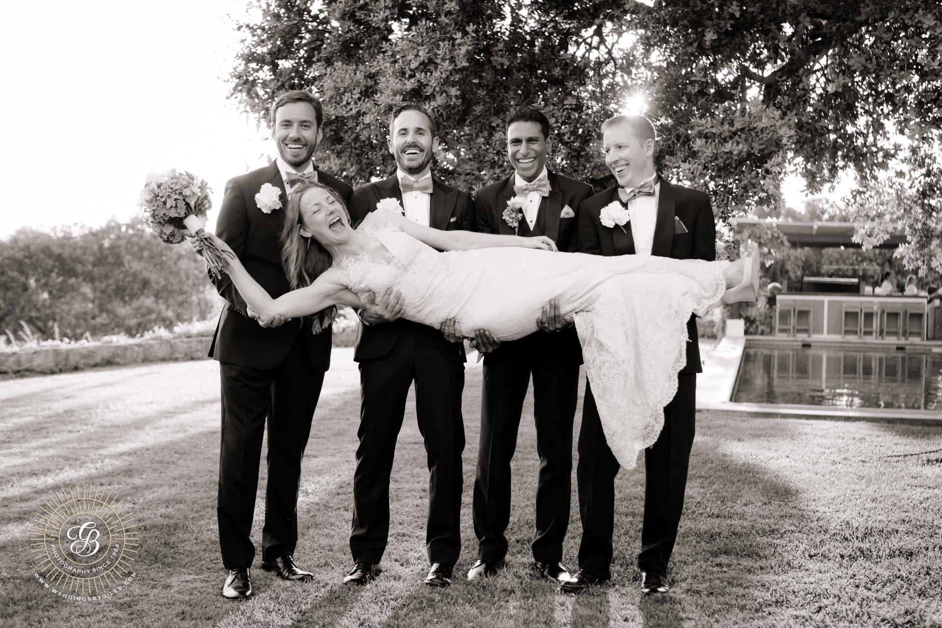 formal wedding photo at garden wedding