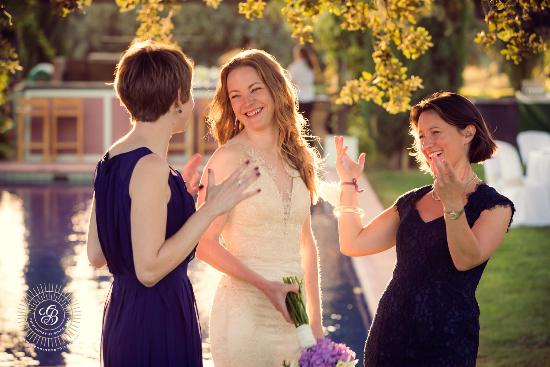 laughter at sunset garden wedding in andalucia