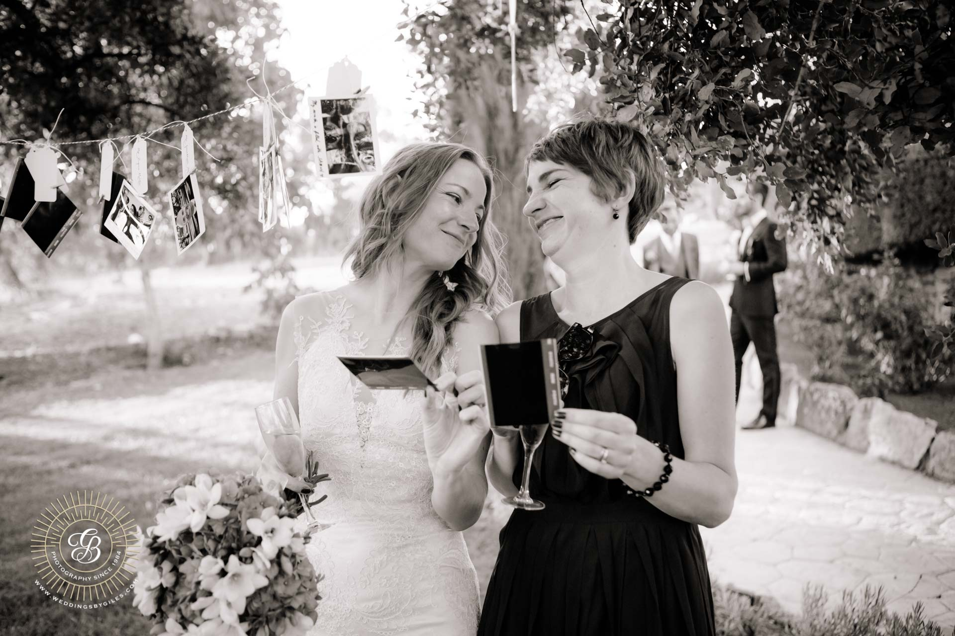 bride laughs with her sister