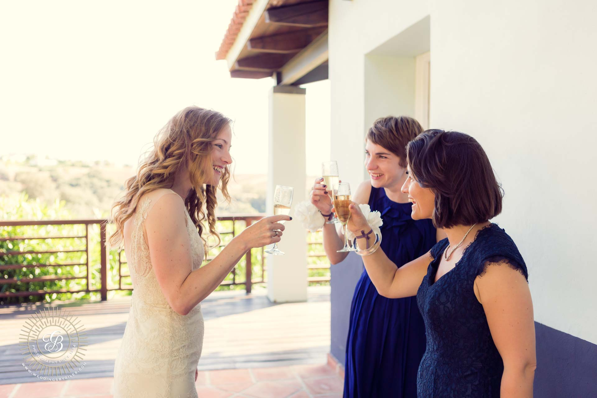 bride toasts her maids of honour