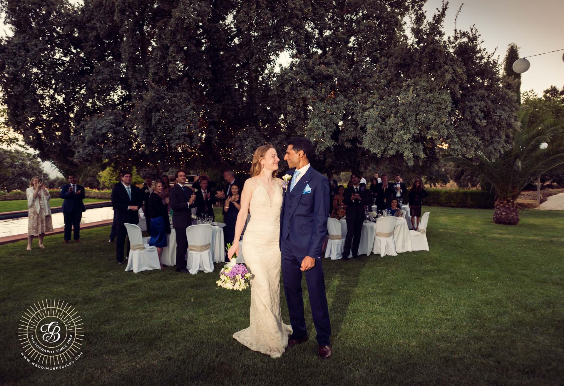 wedding portrait in spannish garden wedding