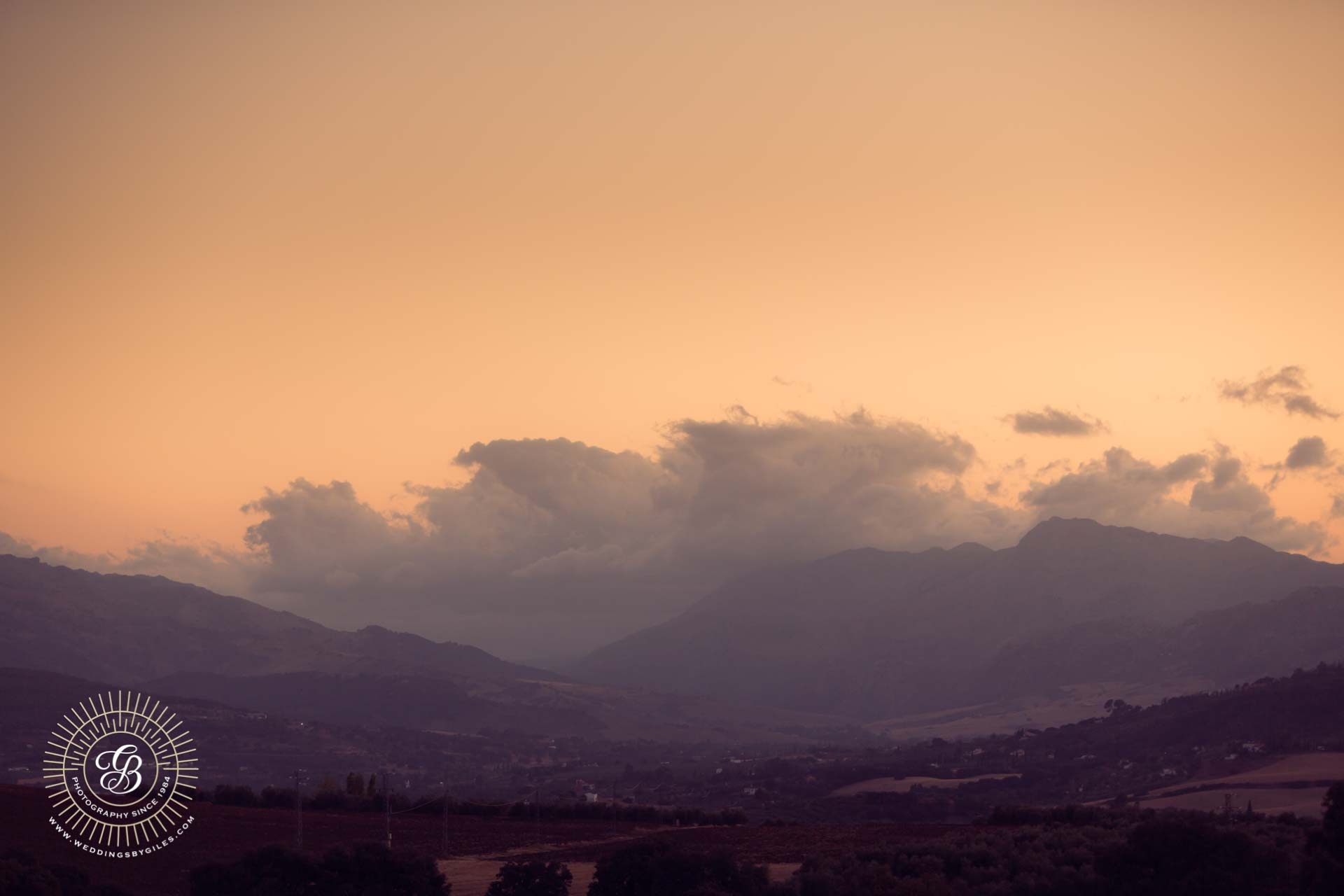 sunset of ther hills of Ronda in andalucia