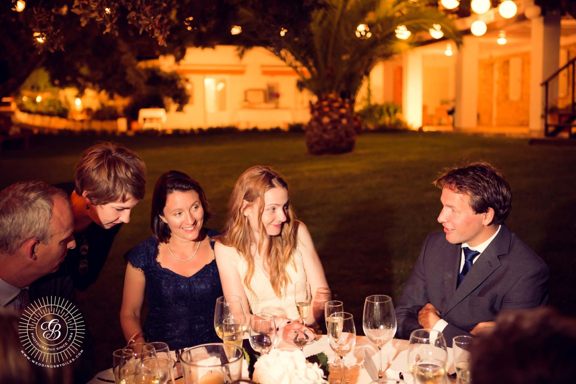 bride talks to wedding guests