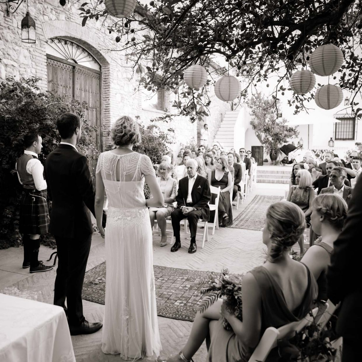 open air wedding ceremony at Faín Viejo