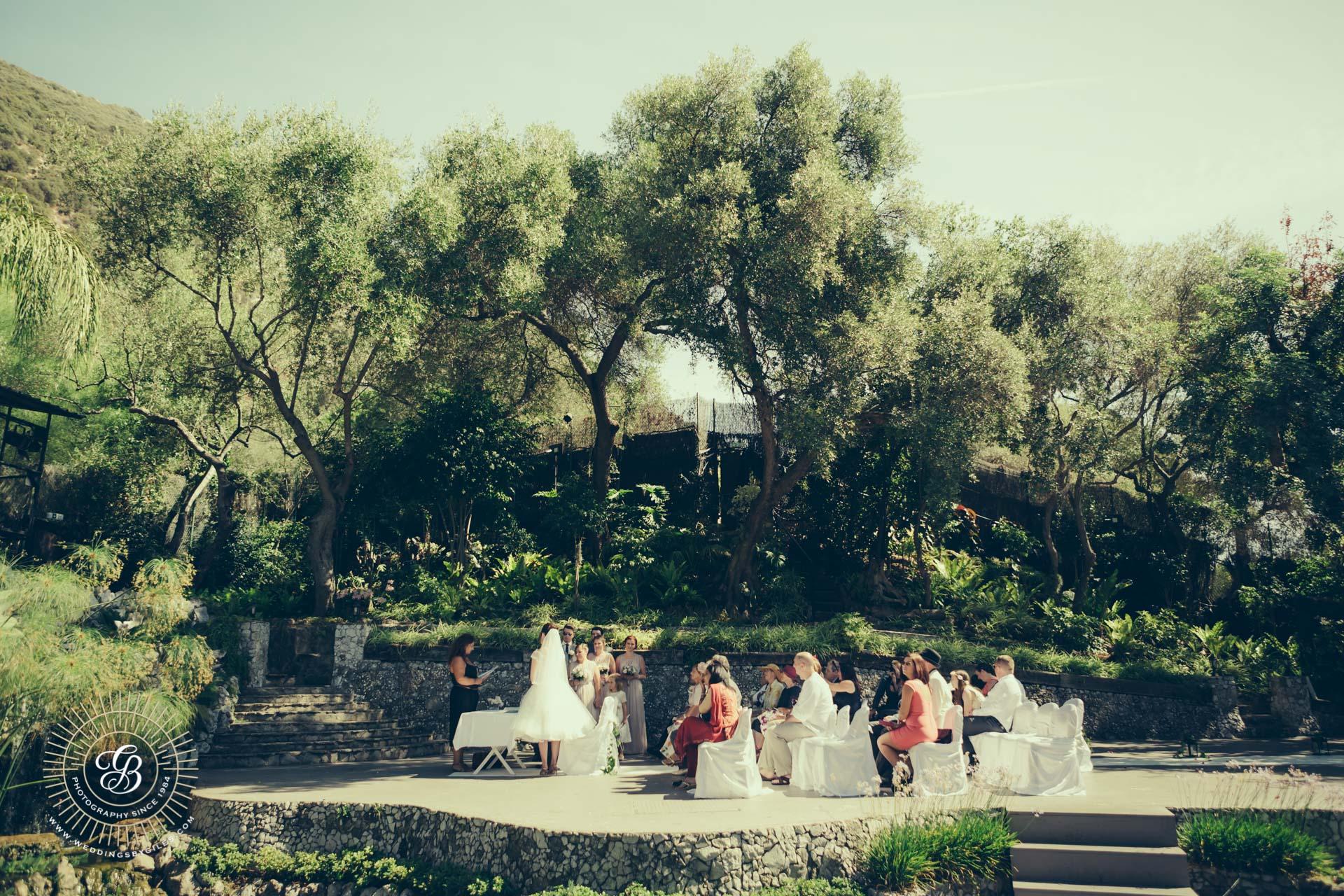 wedding in the open air thearte in Gibraltar