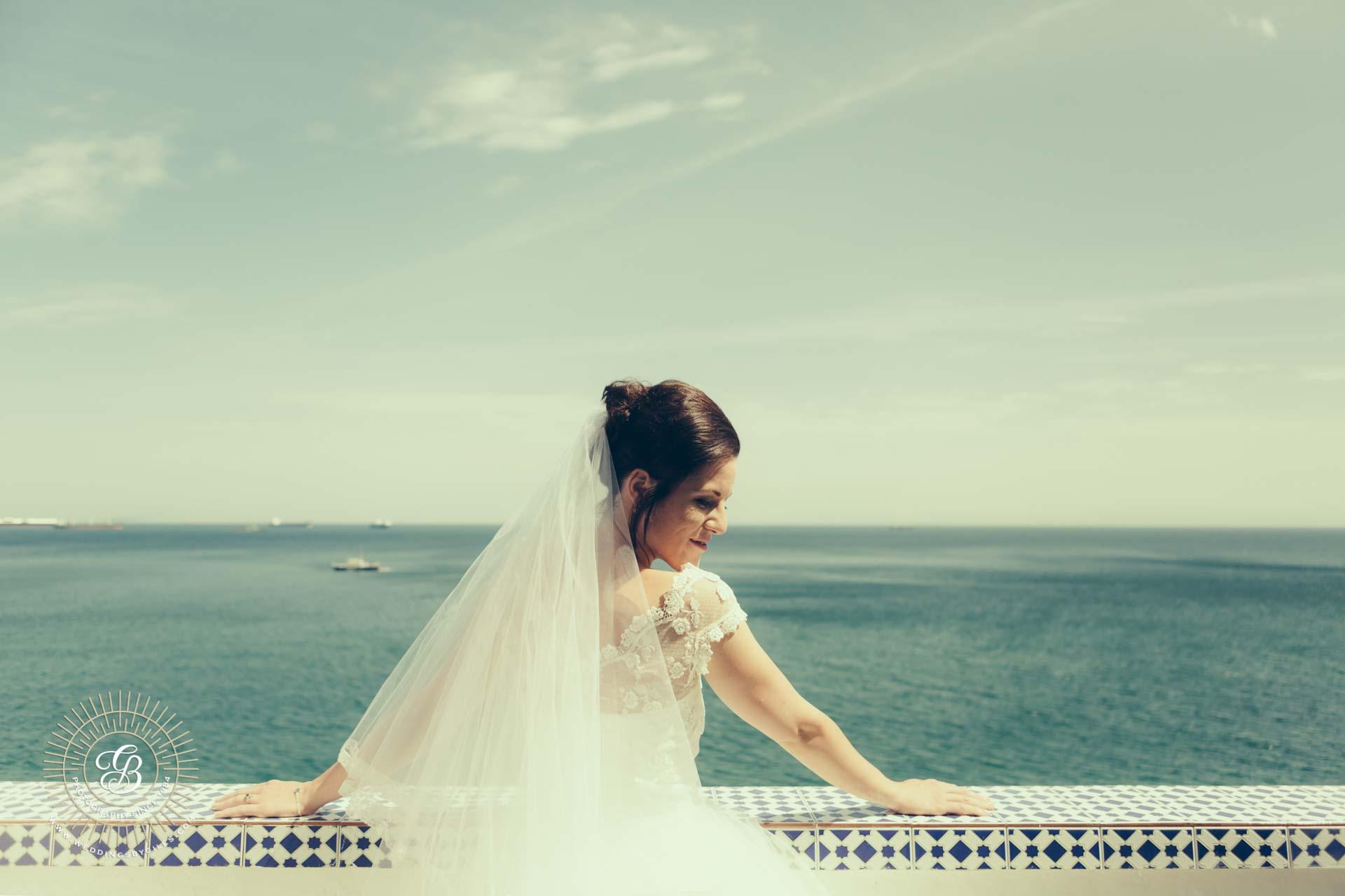 Bridal Portrait on The Calleta Hotel terrace in Gibraltar