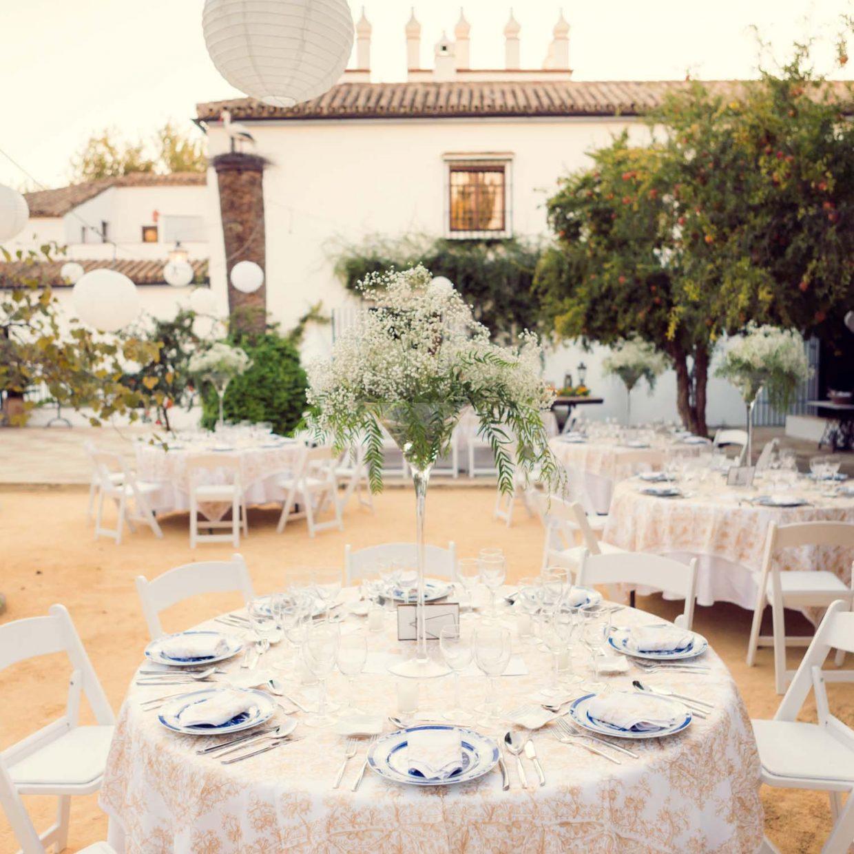Cortijo wedding dinner set up at Faín Viejo