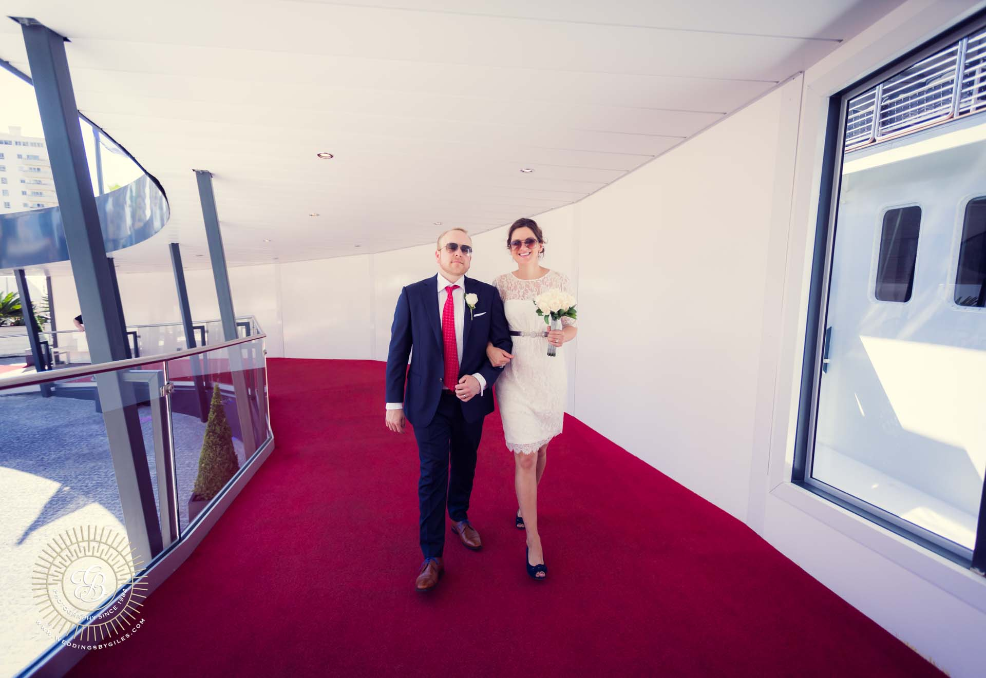 bride and groom arrive at the Sunborn Yacht hotel