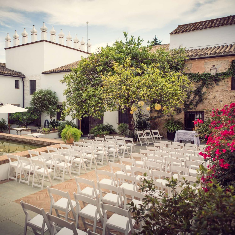 wedding ceremony set up in Faín Viejo