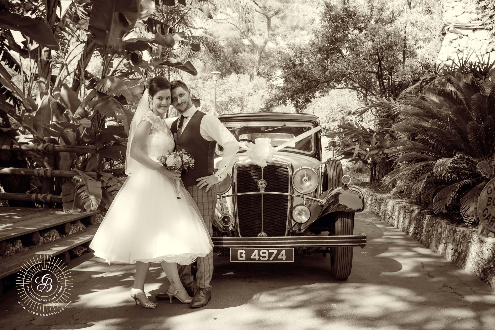 Vintage wedding photo in Gibraltar
