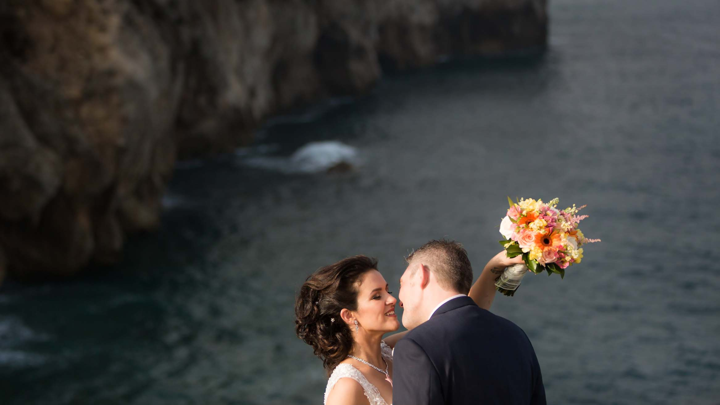 Europa point wedding kiss