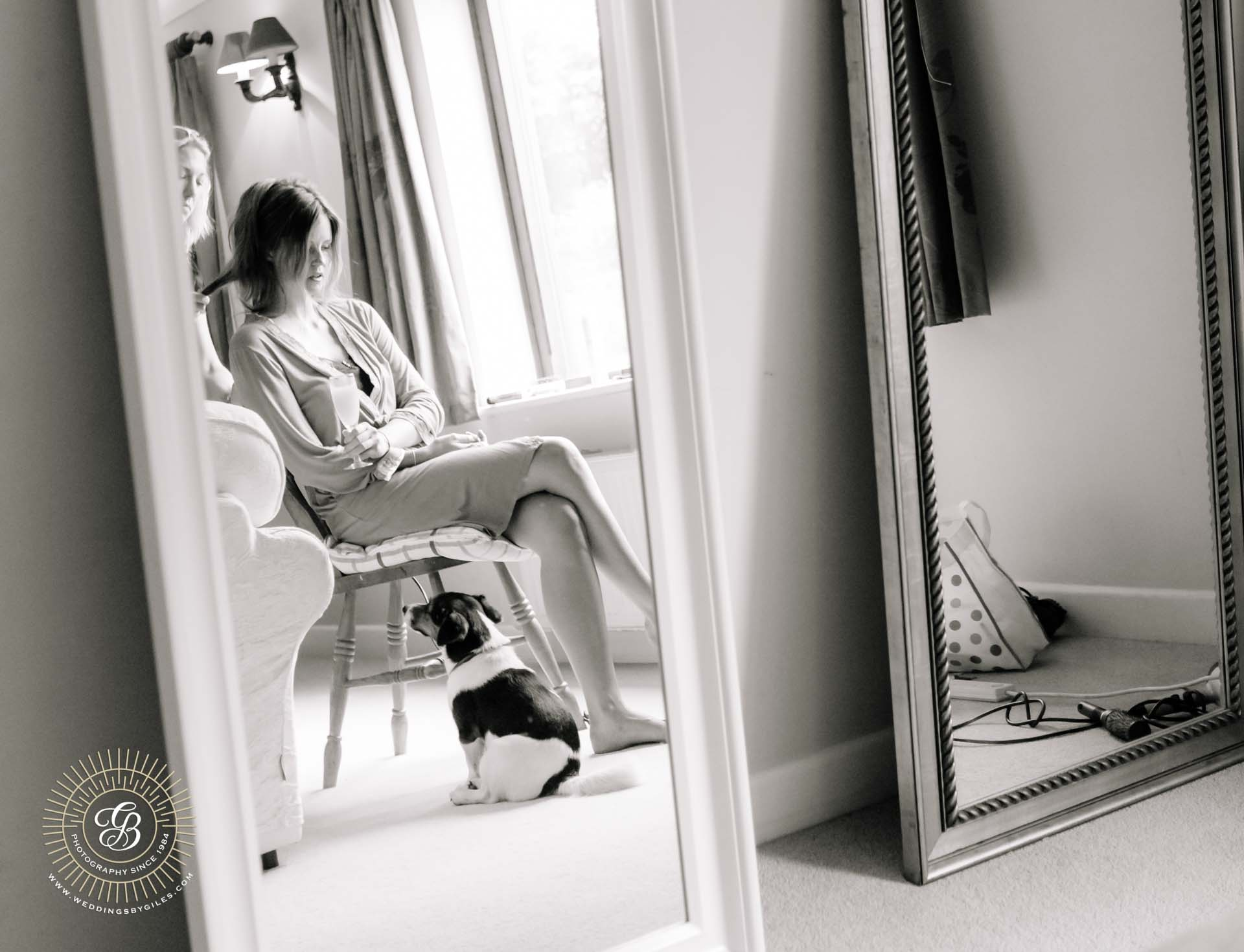 bride and her dog getting ready