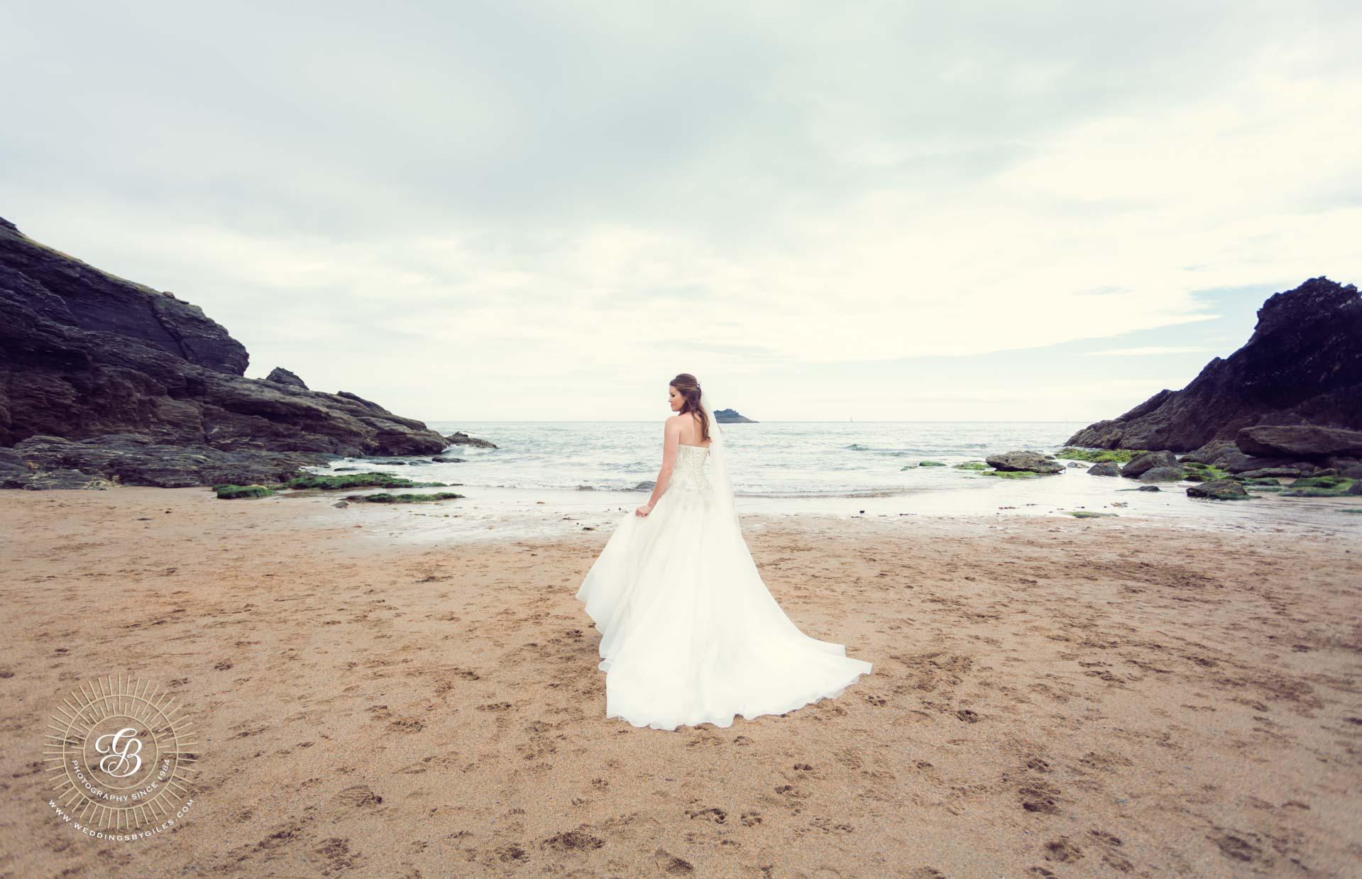Bride on the beach in Devon
