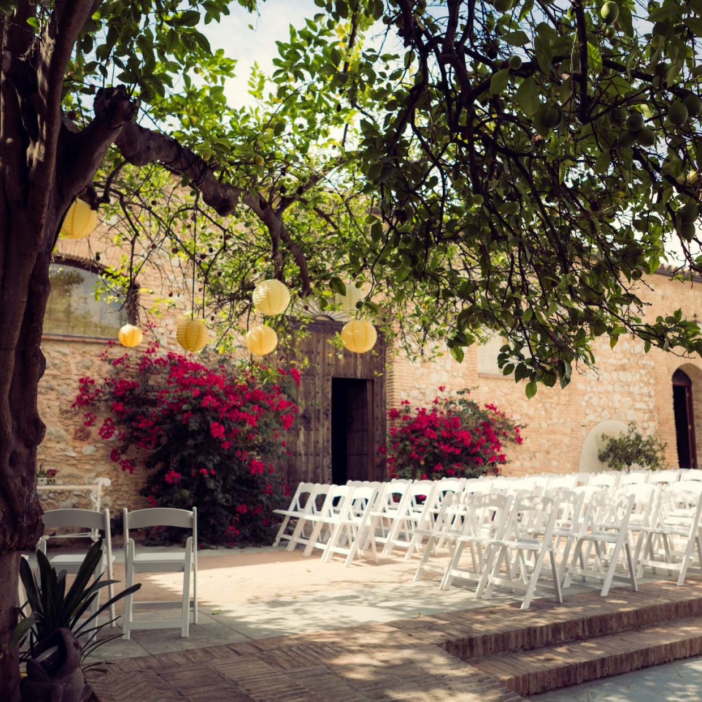 wedding setup in Spanish Cortico courtyard