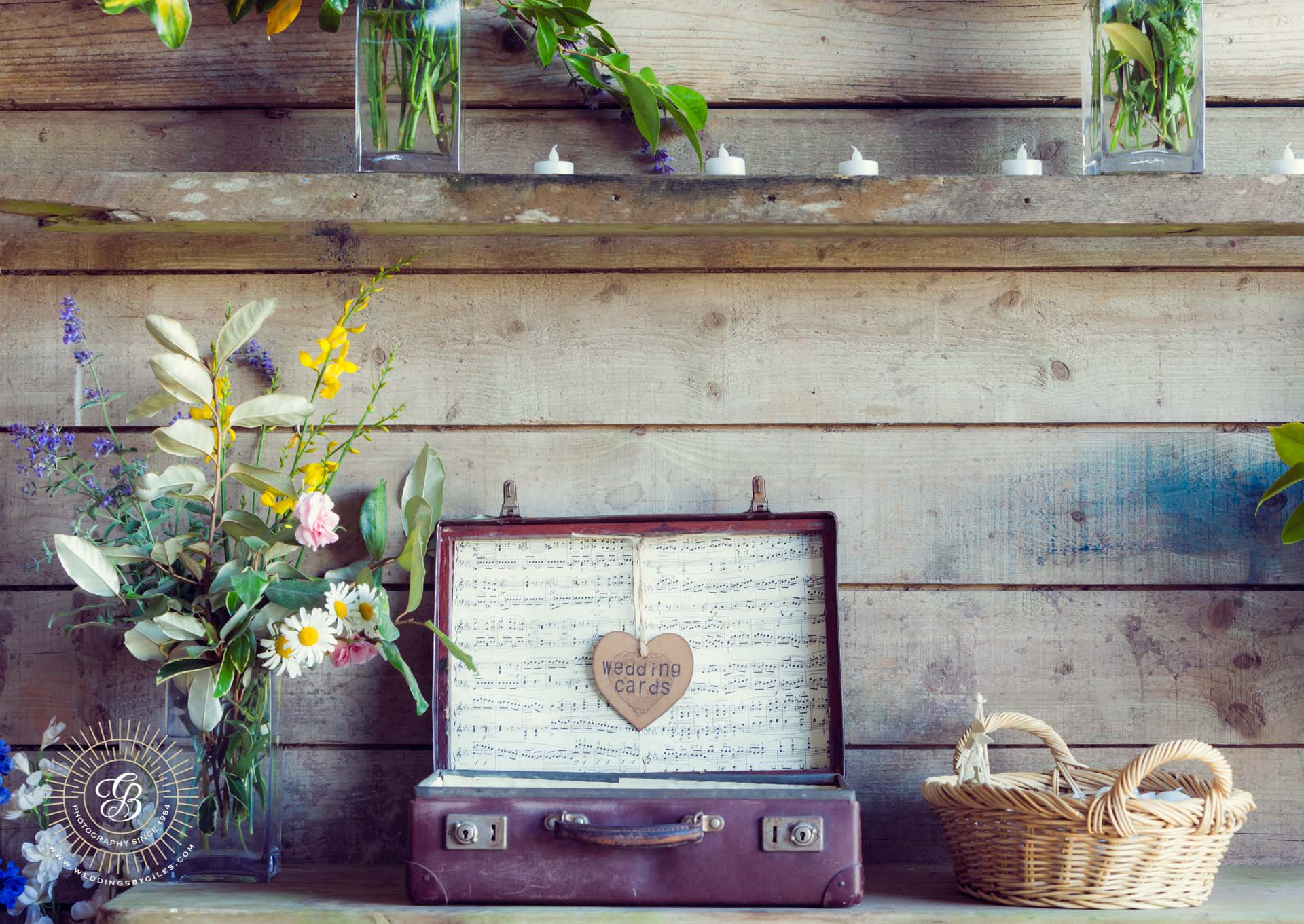 home made rustic wedding decoration in a barn