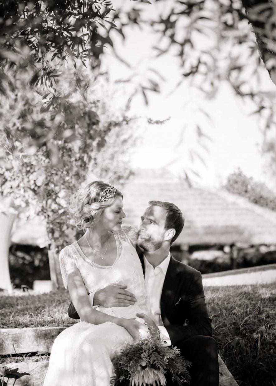wedding portrait in Spanish garden